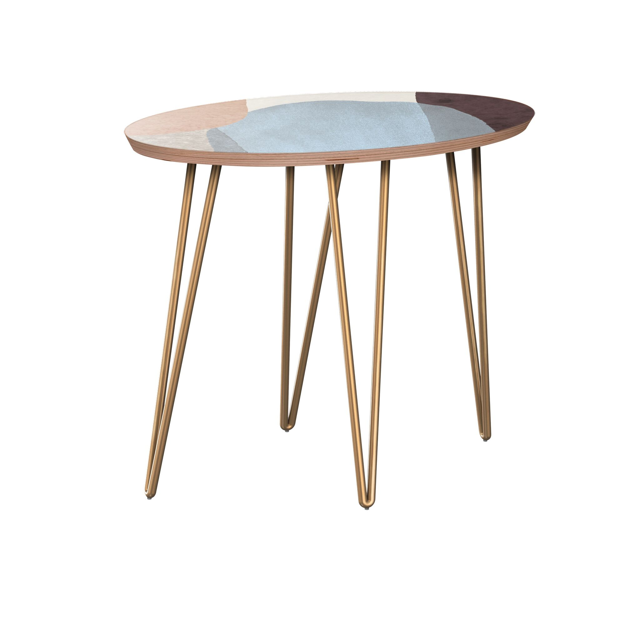 Kalyssa End Table Table Base Color: Brass, Table Top Color: Walnut