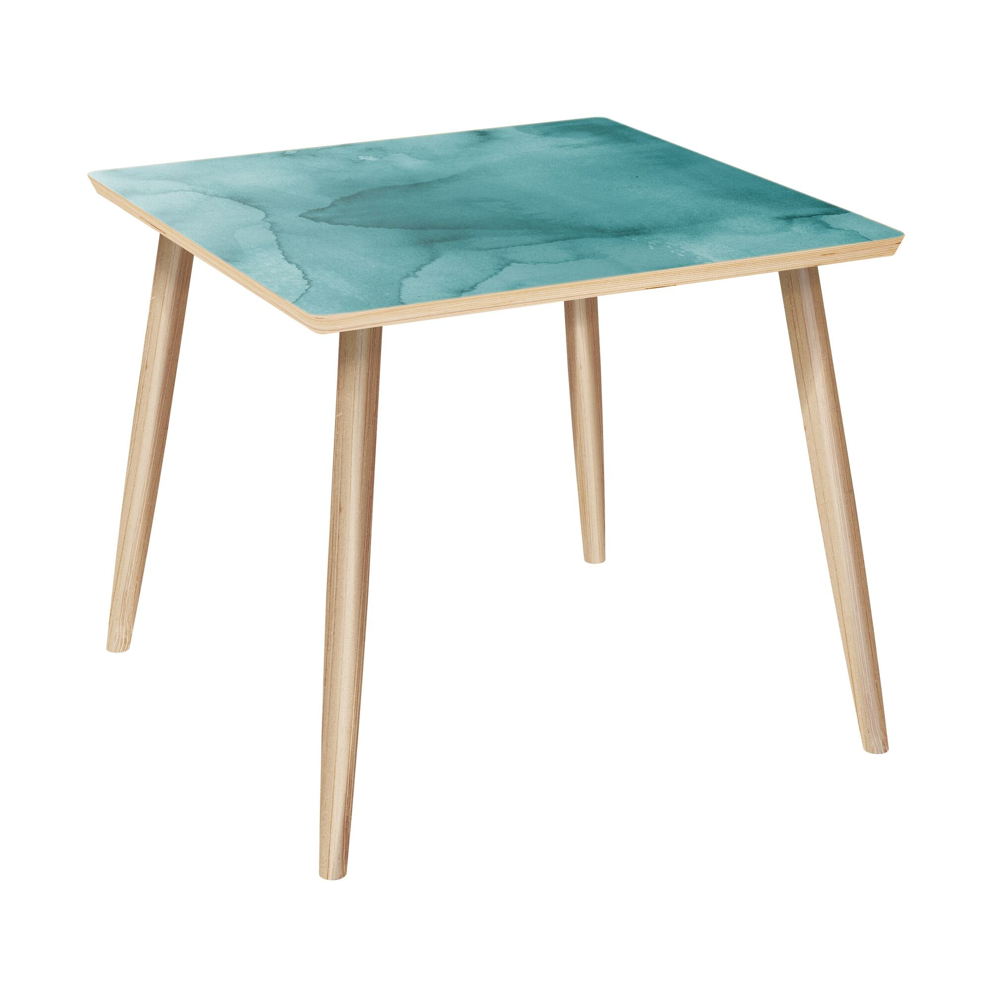 Lasker End Table Table Base Color: Natural, Table Top Color: Turquoise