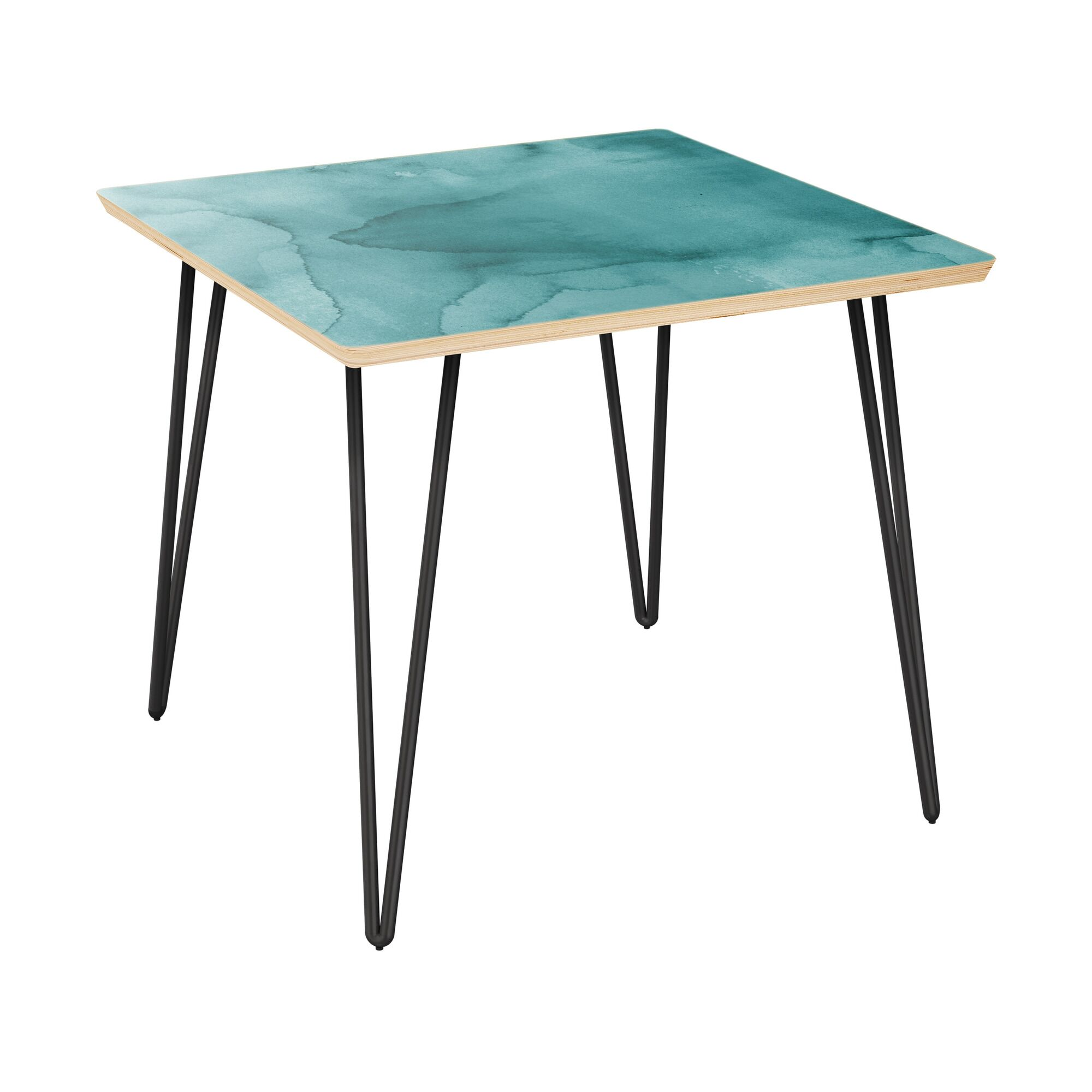 Ratner End Table Table Top Boarder Color: Natural, Table Base Color: Black, Table Top Color: Turquoise