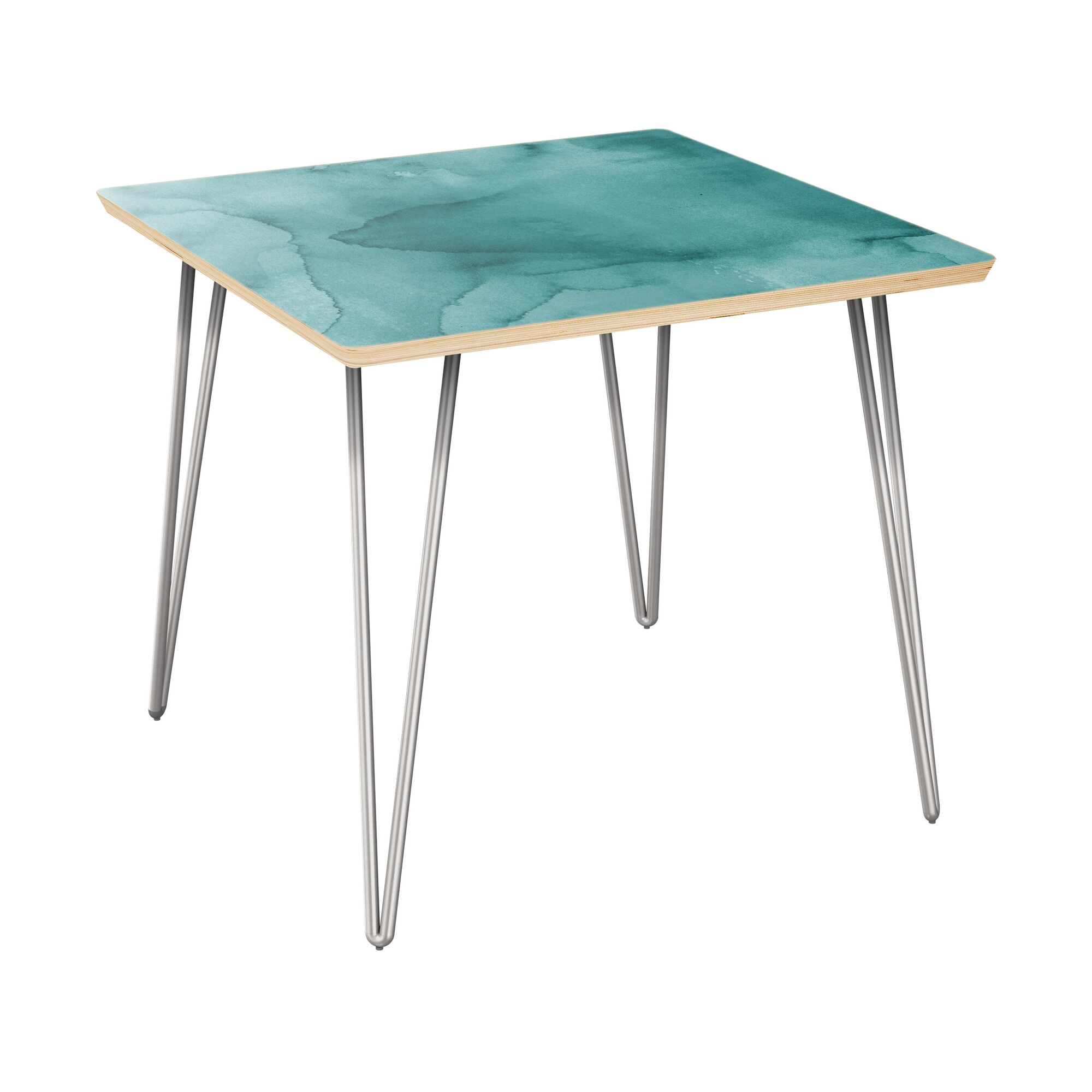 Ratner End Table Table Top Boarder Color: Natural, Table Base Color: Chrome, Table Top Color: Turquoise