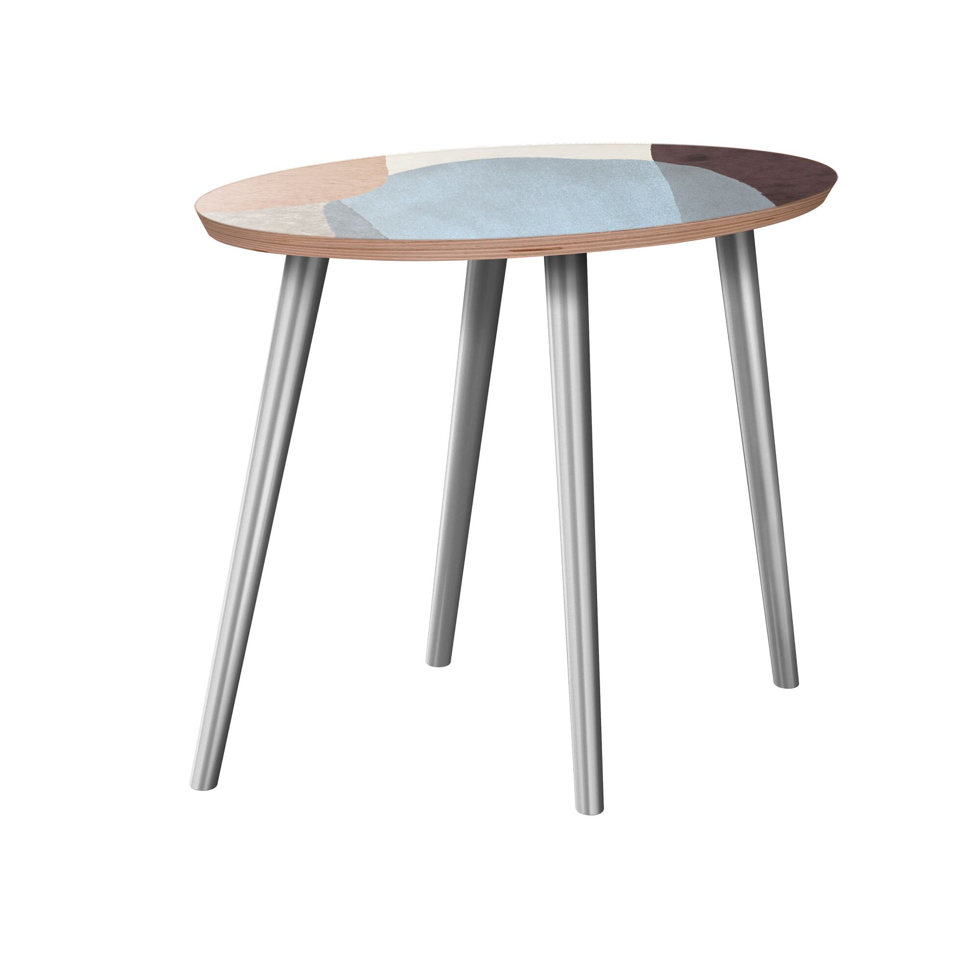 Eure End Table Table Base Color: Chrome, Table Top Color: Walnut