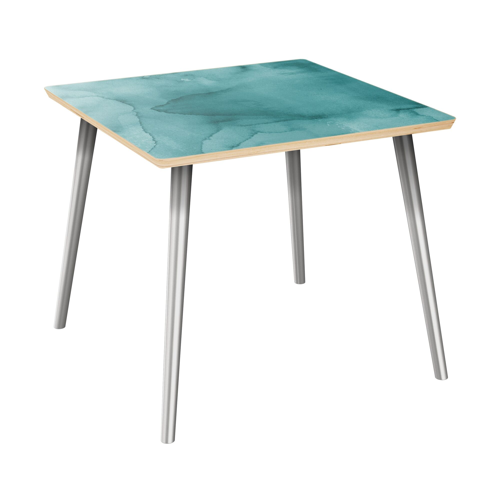 Ratzlaff End Table Table Top Boarder Color: Natural, Table Base Color: Chrome, Table Top Color: Turquoise