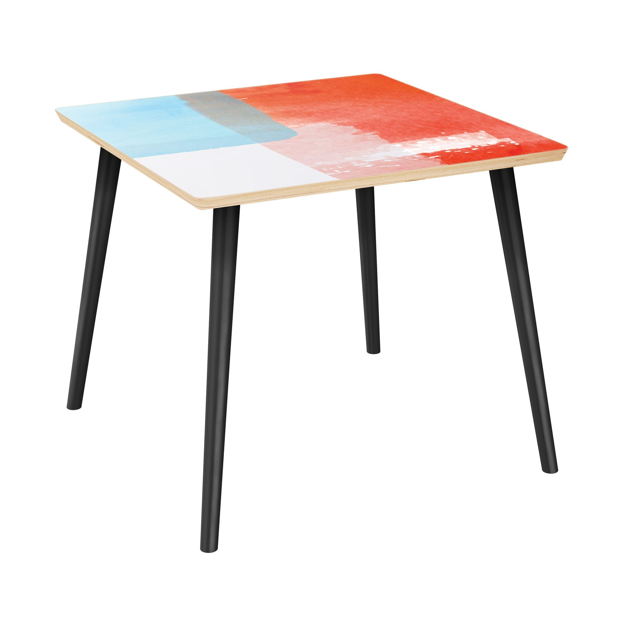 Fabre End Table Table Top Color: Natural, Table Base Color: Black