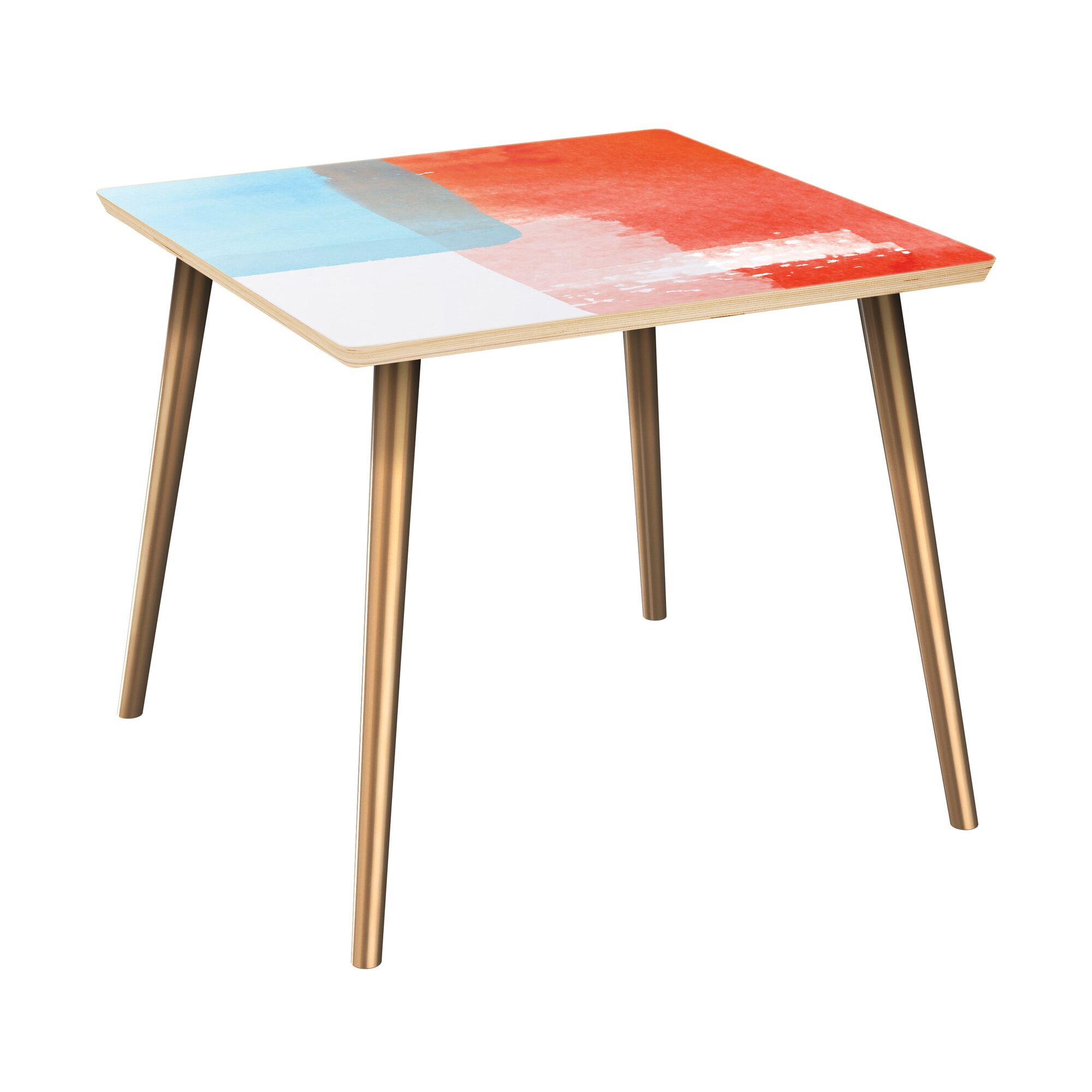Fabre End Table Table Top Color: Natural, Table Base Color: Brass