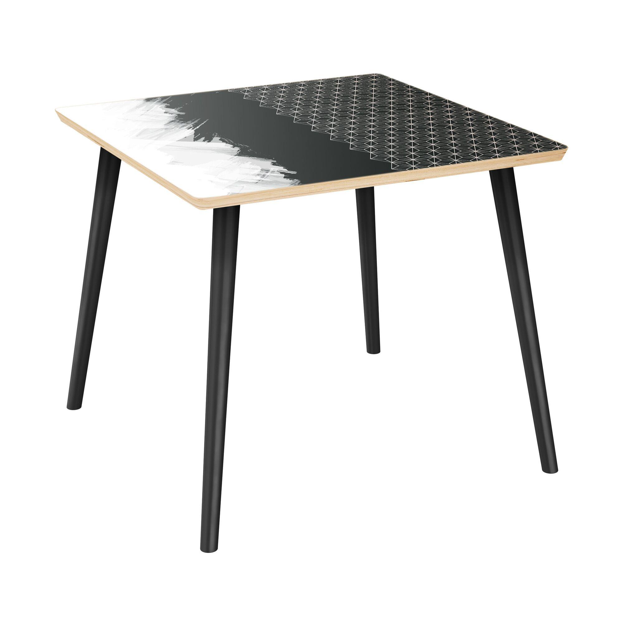 Ewalt End Table Table Top Color: Natural, Table Base Color: Black