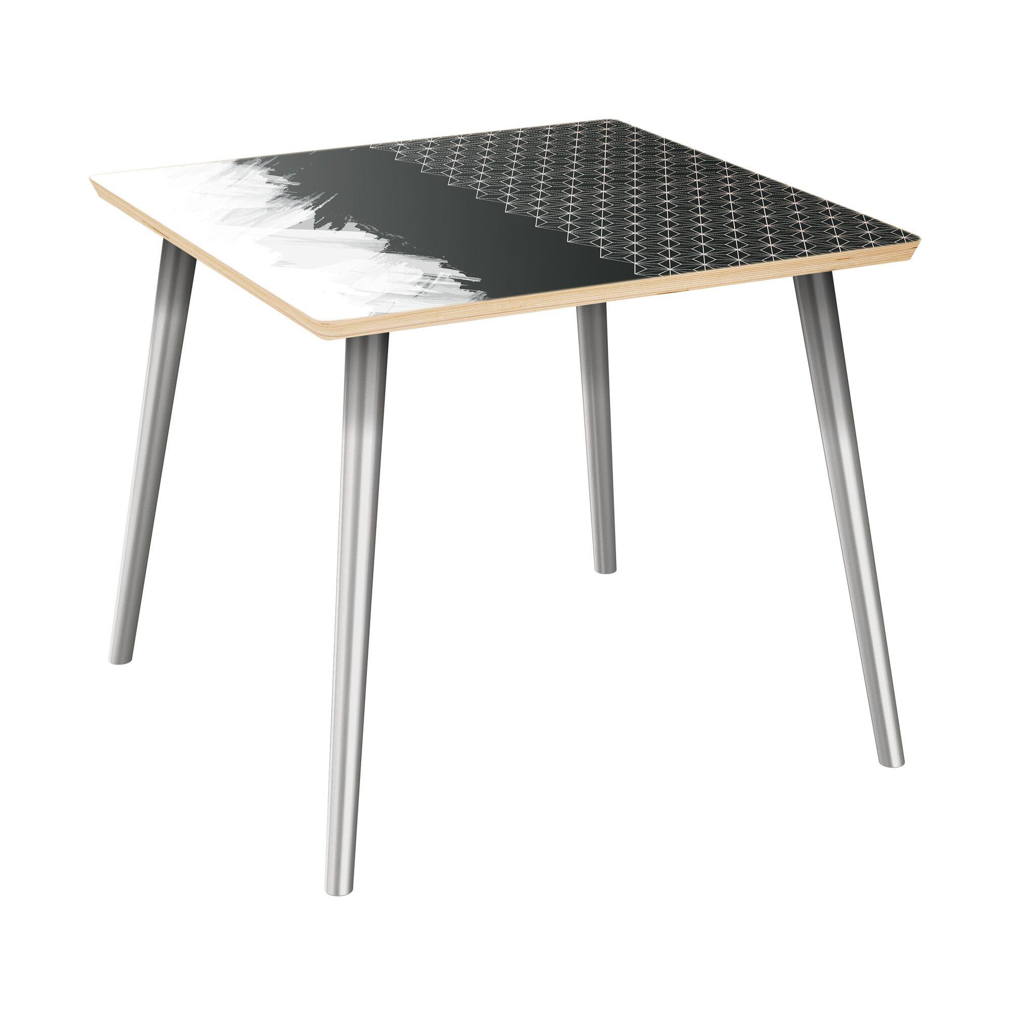 Ewalt End Table Table Top Color: Natural, Table Base Color: Chrome