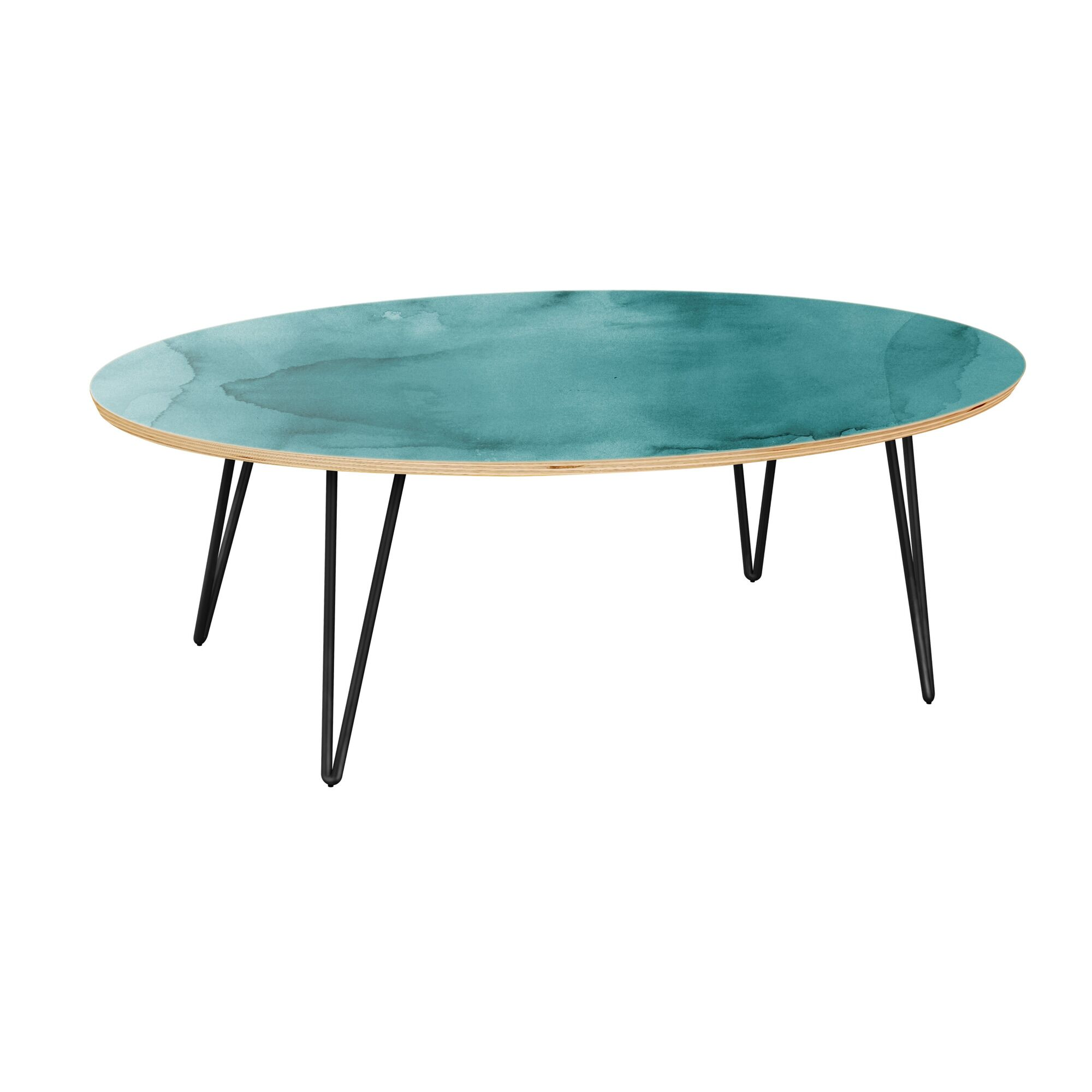 Raybon Coffee Table Table Top Boarder Color: Natural, Table Base Color: Black, Table Top Color: Turquoise