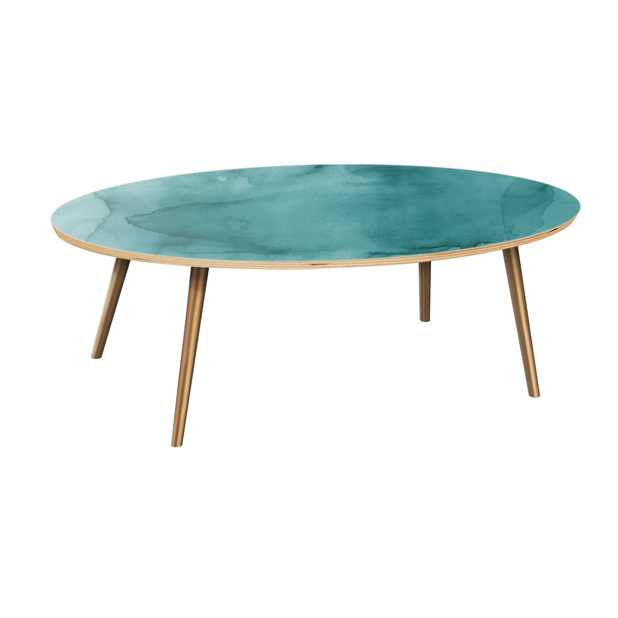 Rayes Coffee Table Table Top Boarder Color: Natural, Table Base Color: Brass, Table Top Color: Pink