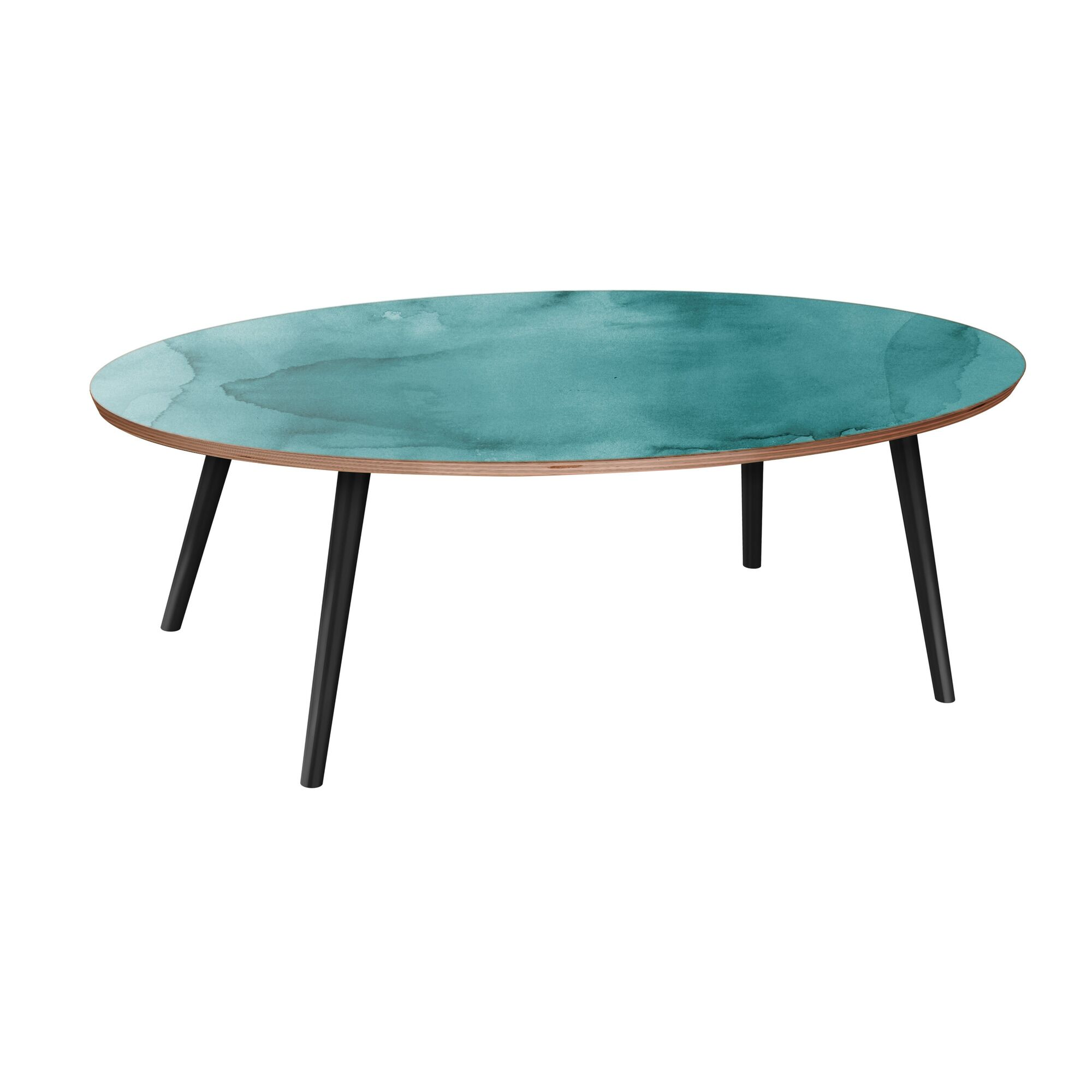 Rayes Coffee Table Table Base Color: Black, Table Top Boarder Color: Walnut, Table Top Color: Pink