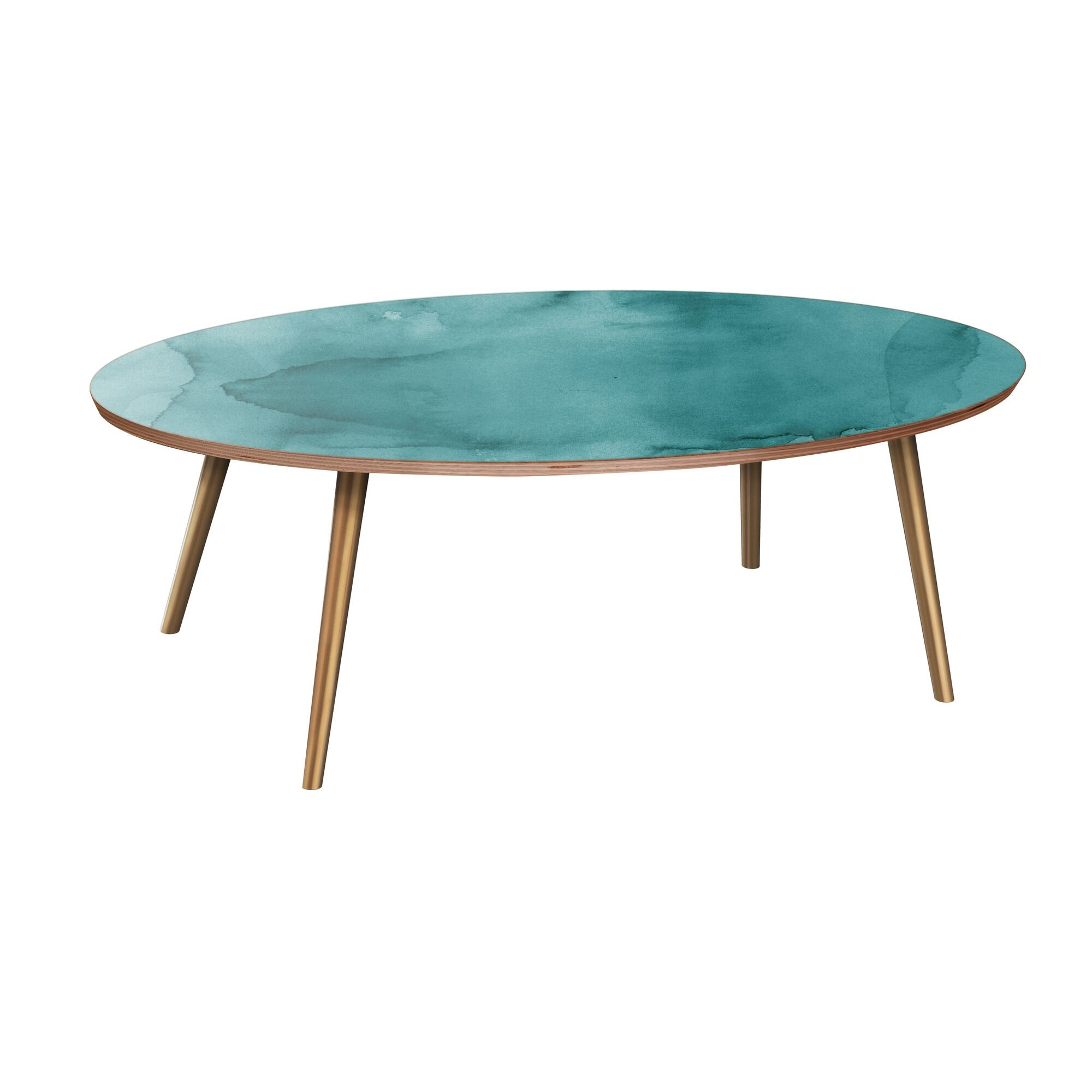 Rayes Coffee Table Table Base Color: Brass, Table Top Boarder Color: Walnut, Table Top Color: Pink