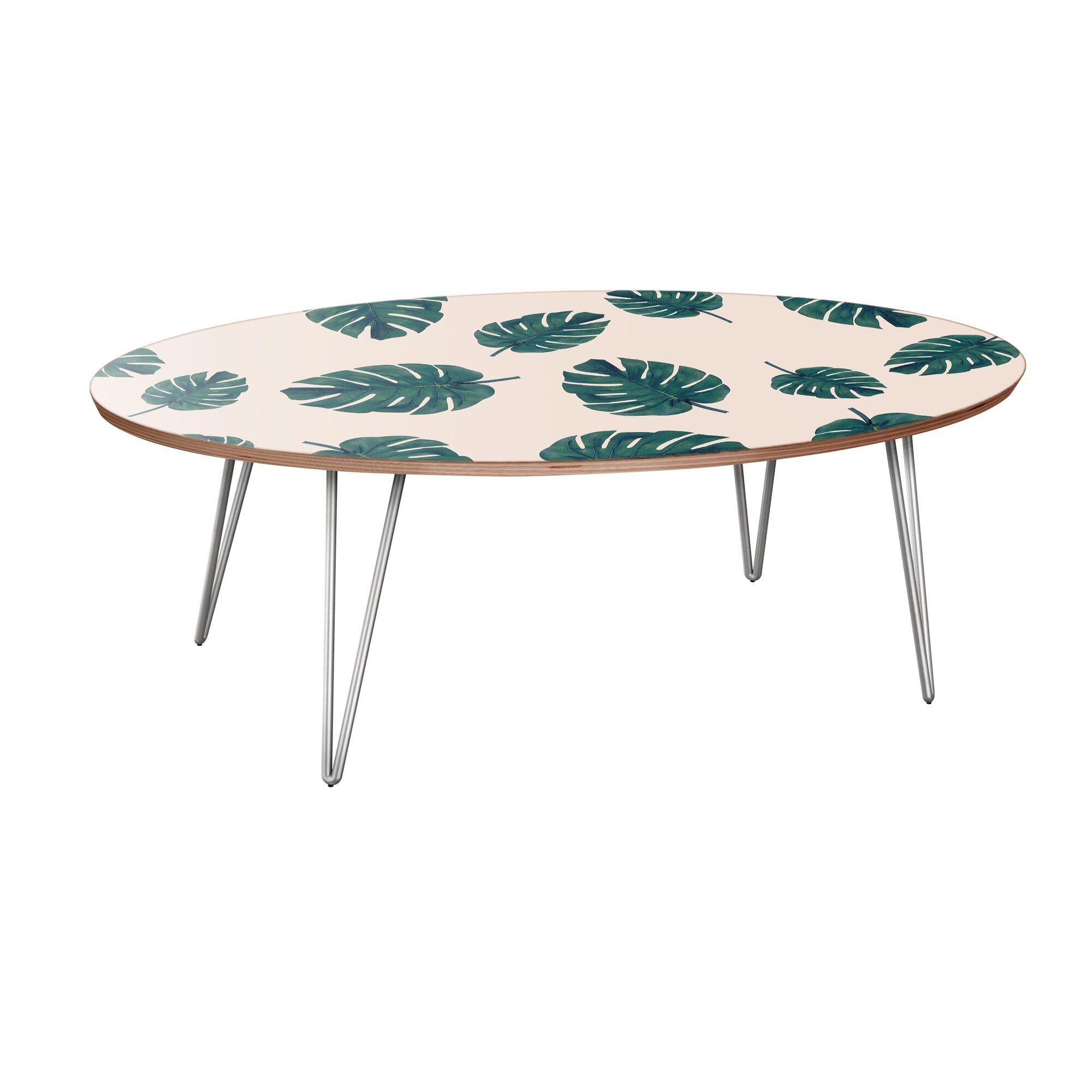Riccio Coffee Table Table Base Color: Chrome, Table Top Color: Walnut