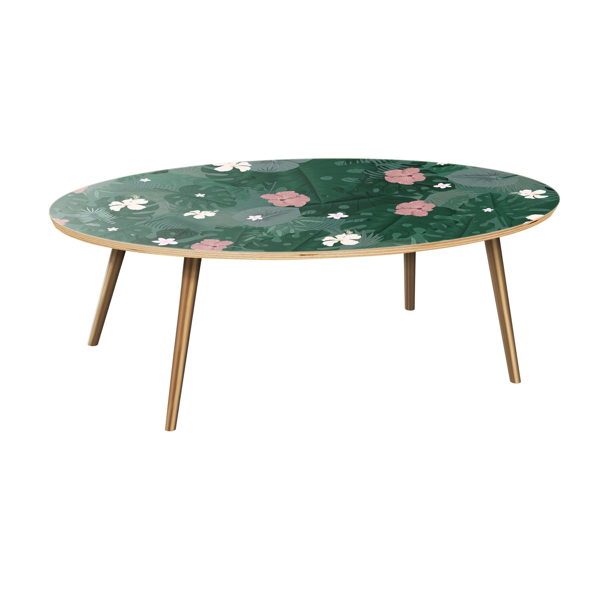 Scheidt Coffee Table Table Top Color: Natural, Table Base Color: Brass