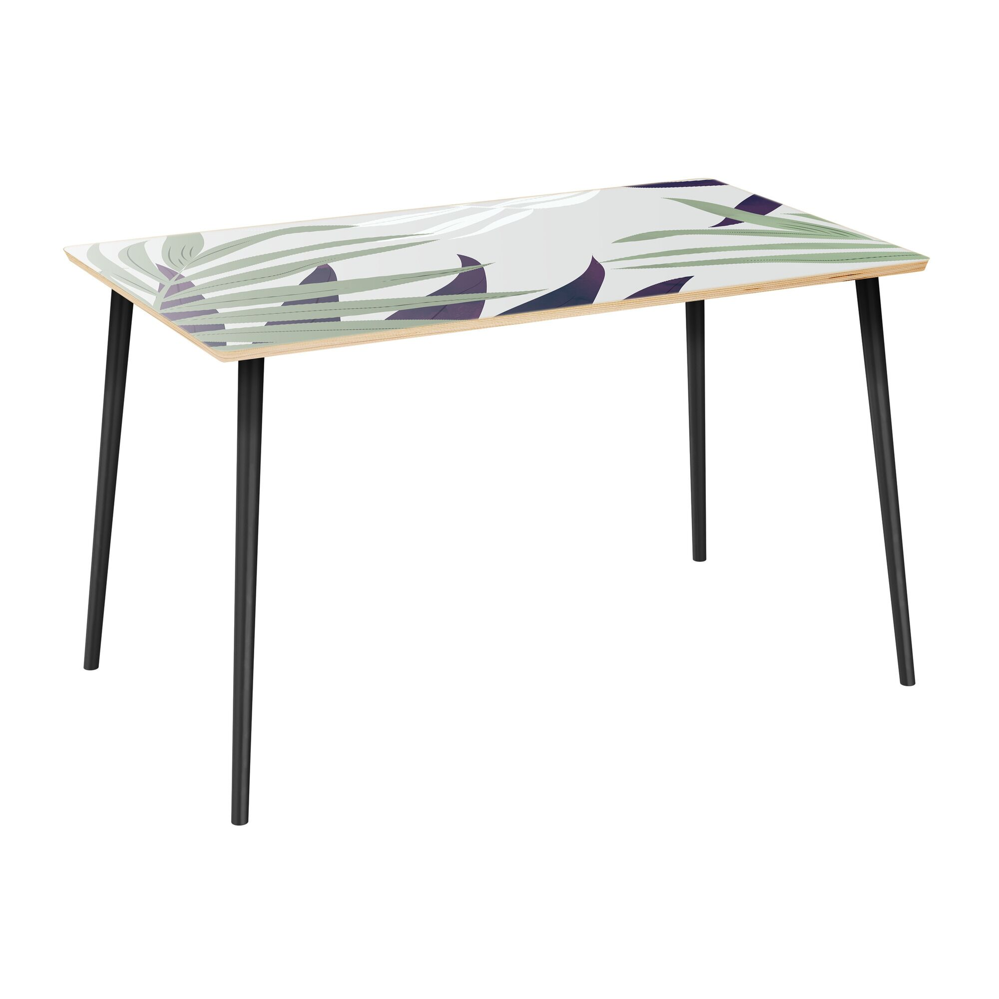 Mercurio Dining Table Table Top Color: Natural, Table Base Color: Black