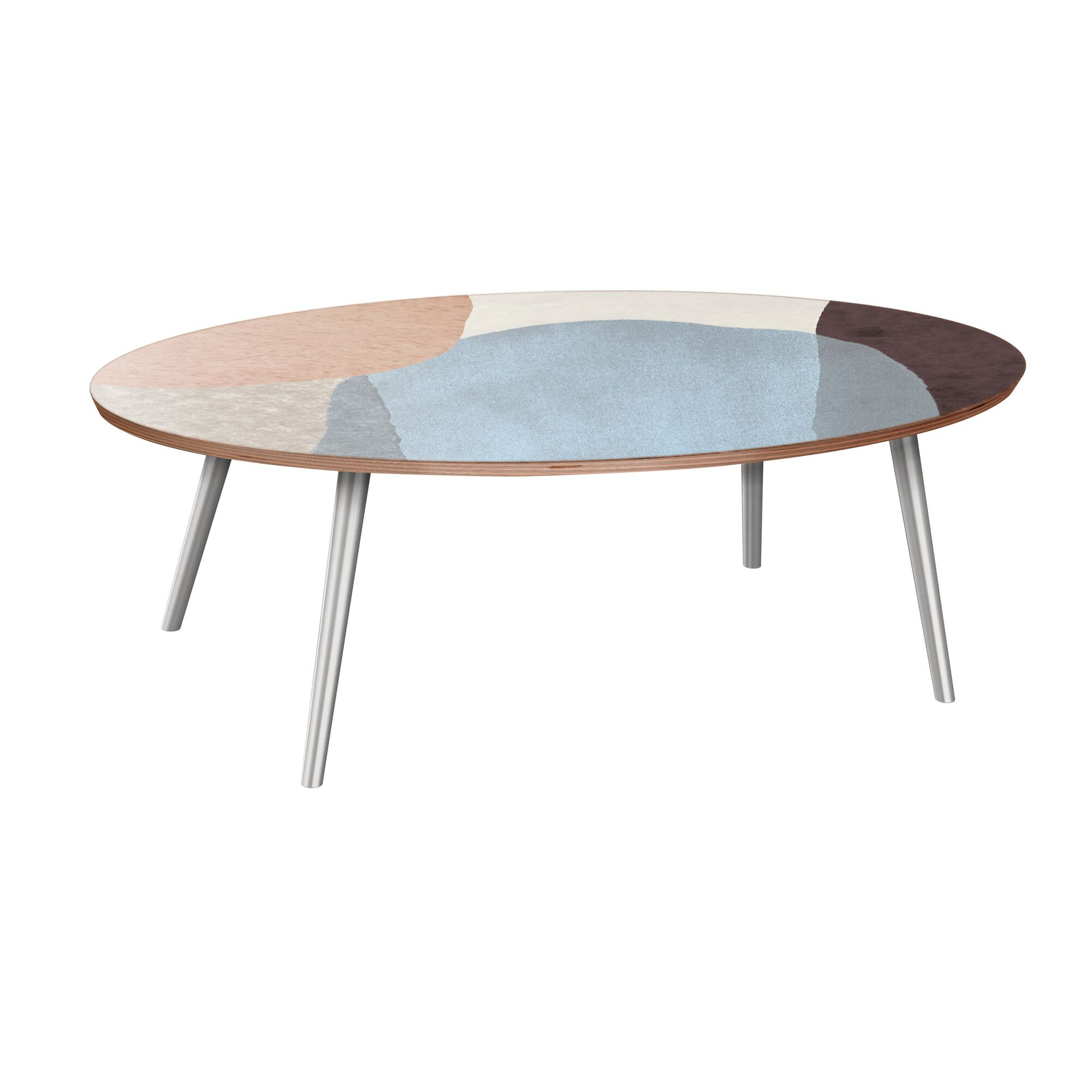 Ethen Coffee Table Table Base Color: Chrome, Table Top Color: Walnut