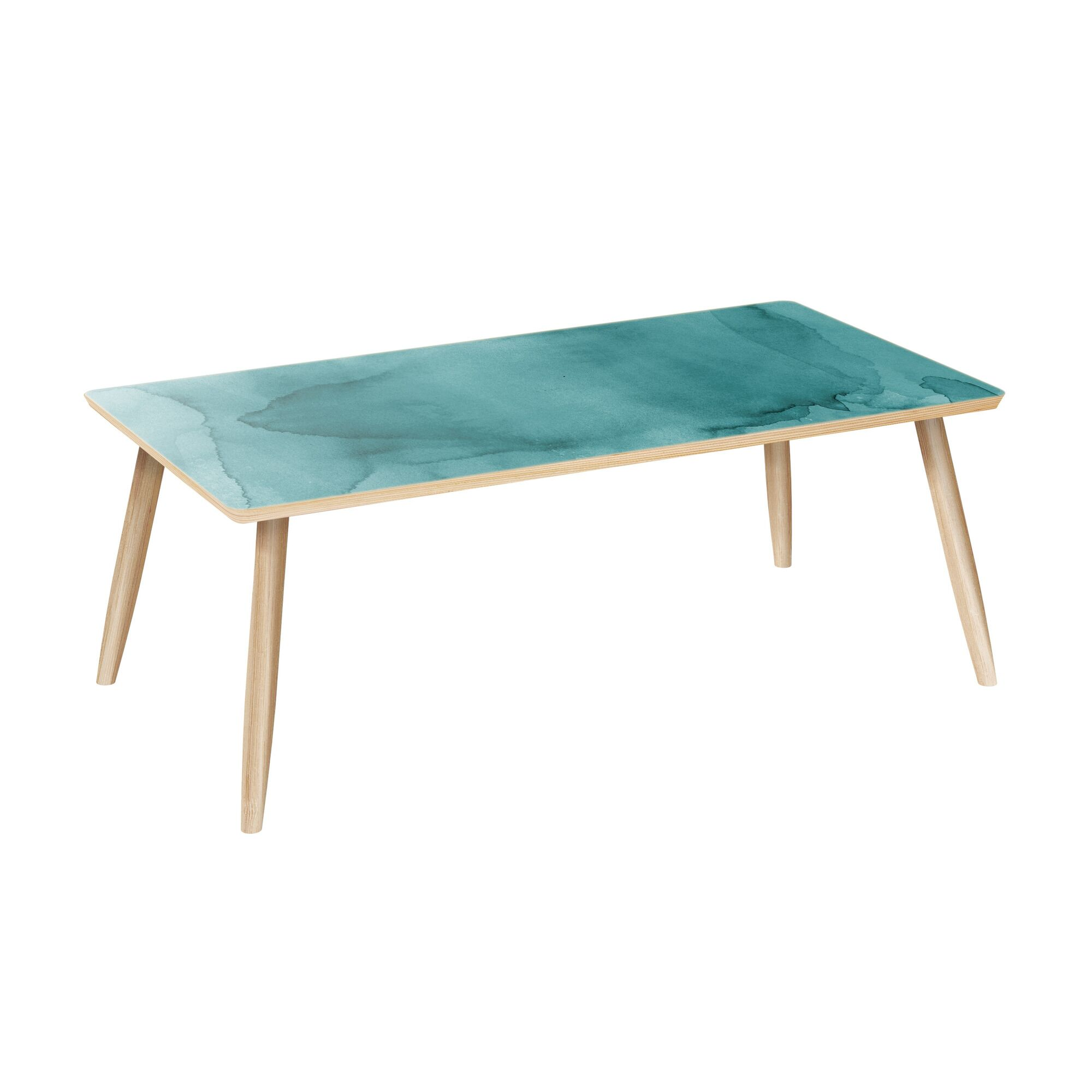 Loiret Coffee Table Table Base Color: Natural, Table Top Color: Turquoise