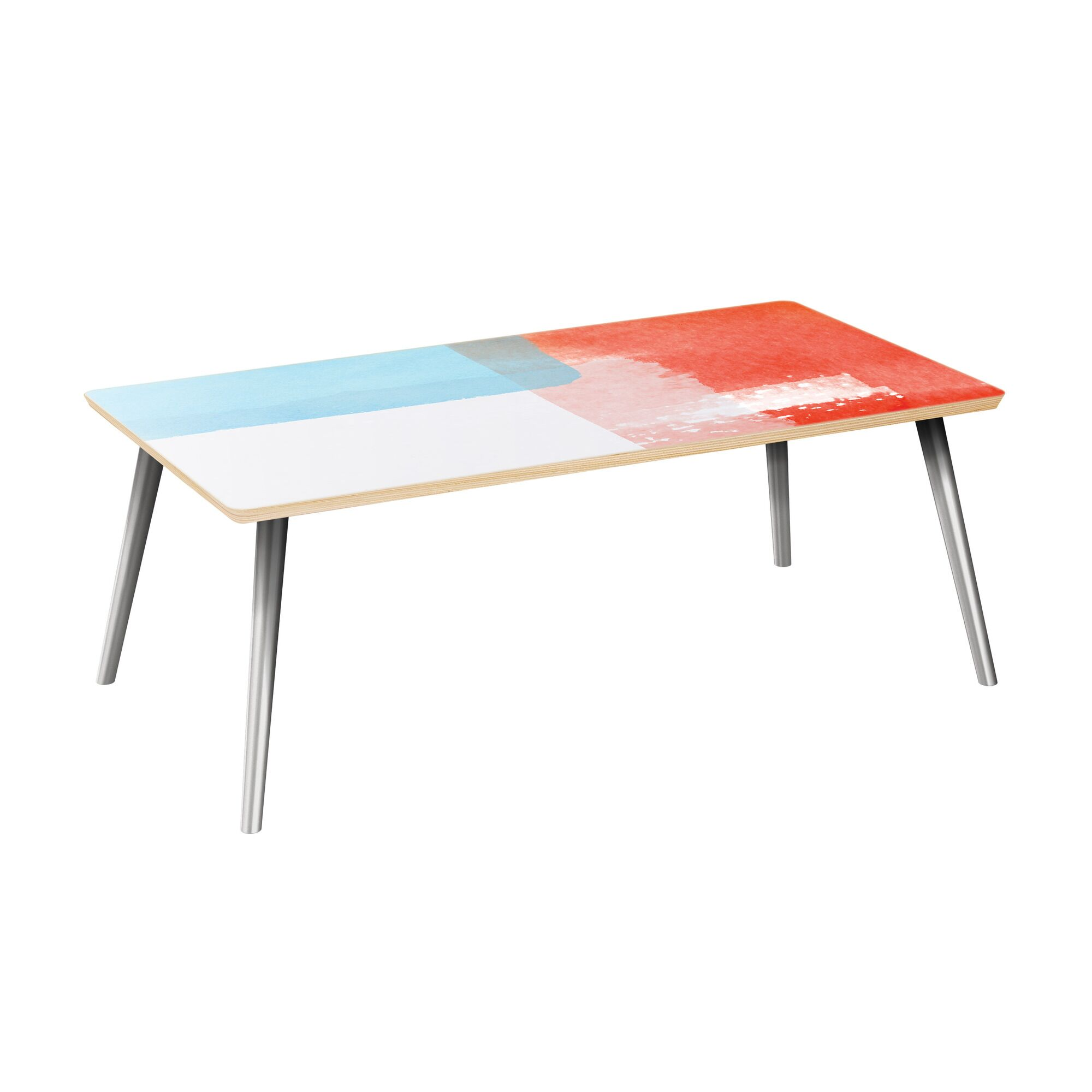 Etzel Coffee Table Table Top Color: Natural, Table Base Color: Chrome