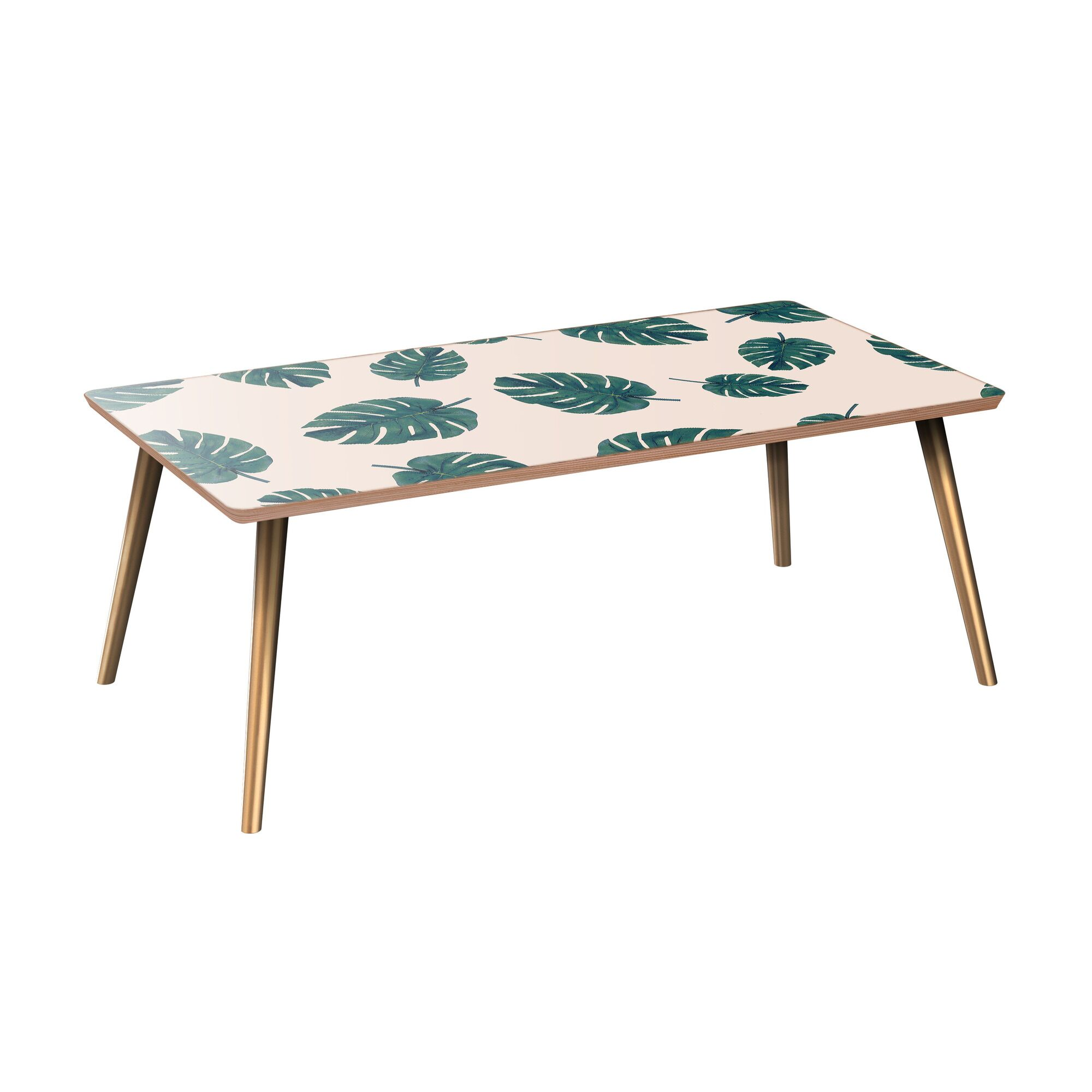 Hellman Coffee Table Table Base Color: Brass, Table Top Color: Walnut
