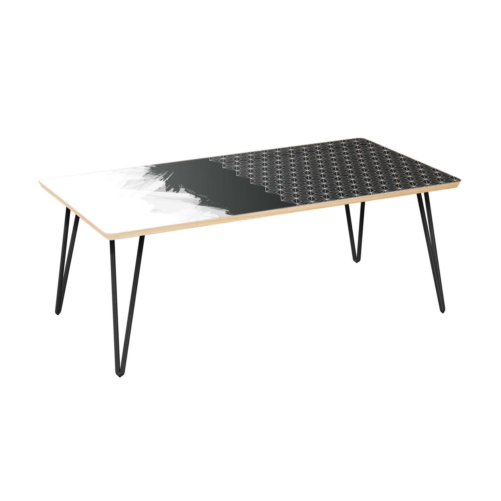Eudy Coffee Table Table Top Color: Natural, Table Base Color: Black