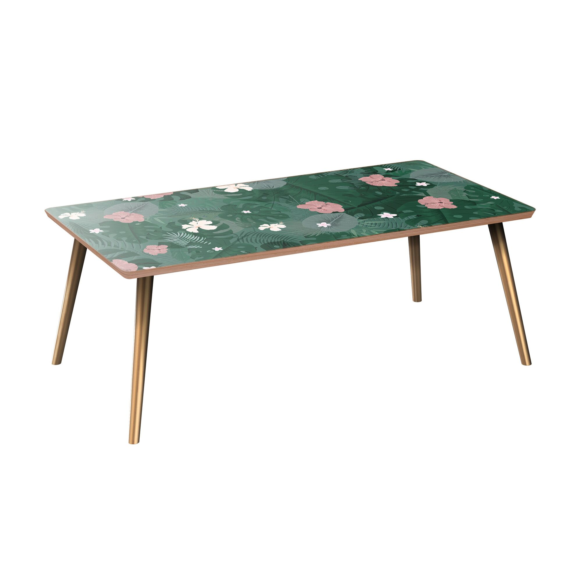 Helmuth Coffee Table Table Base Color: Brass, Table Top Color: Walnut