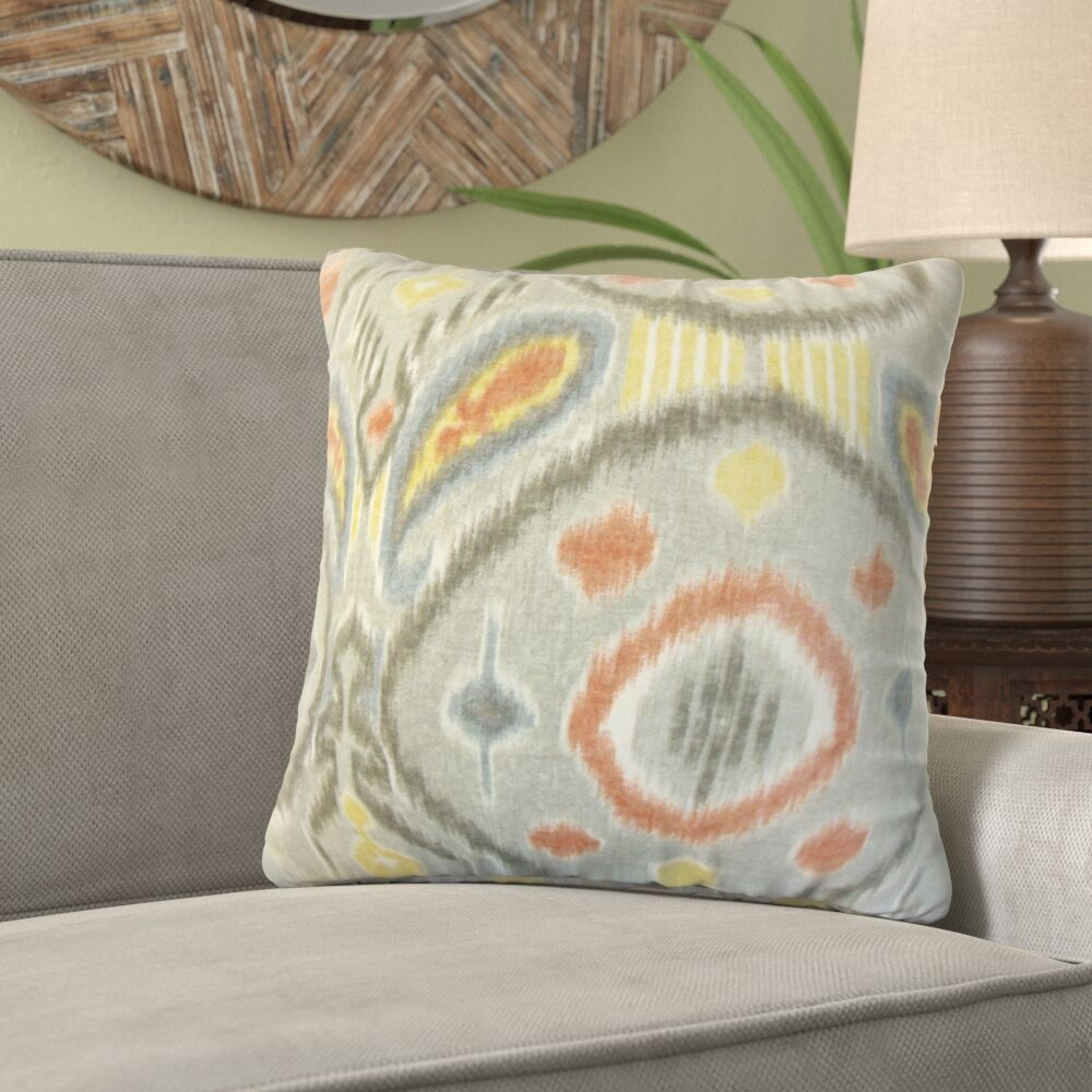 Shekhar Rowsey Ikat Linen Throw Pillow Color: Gray