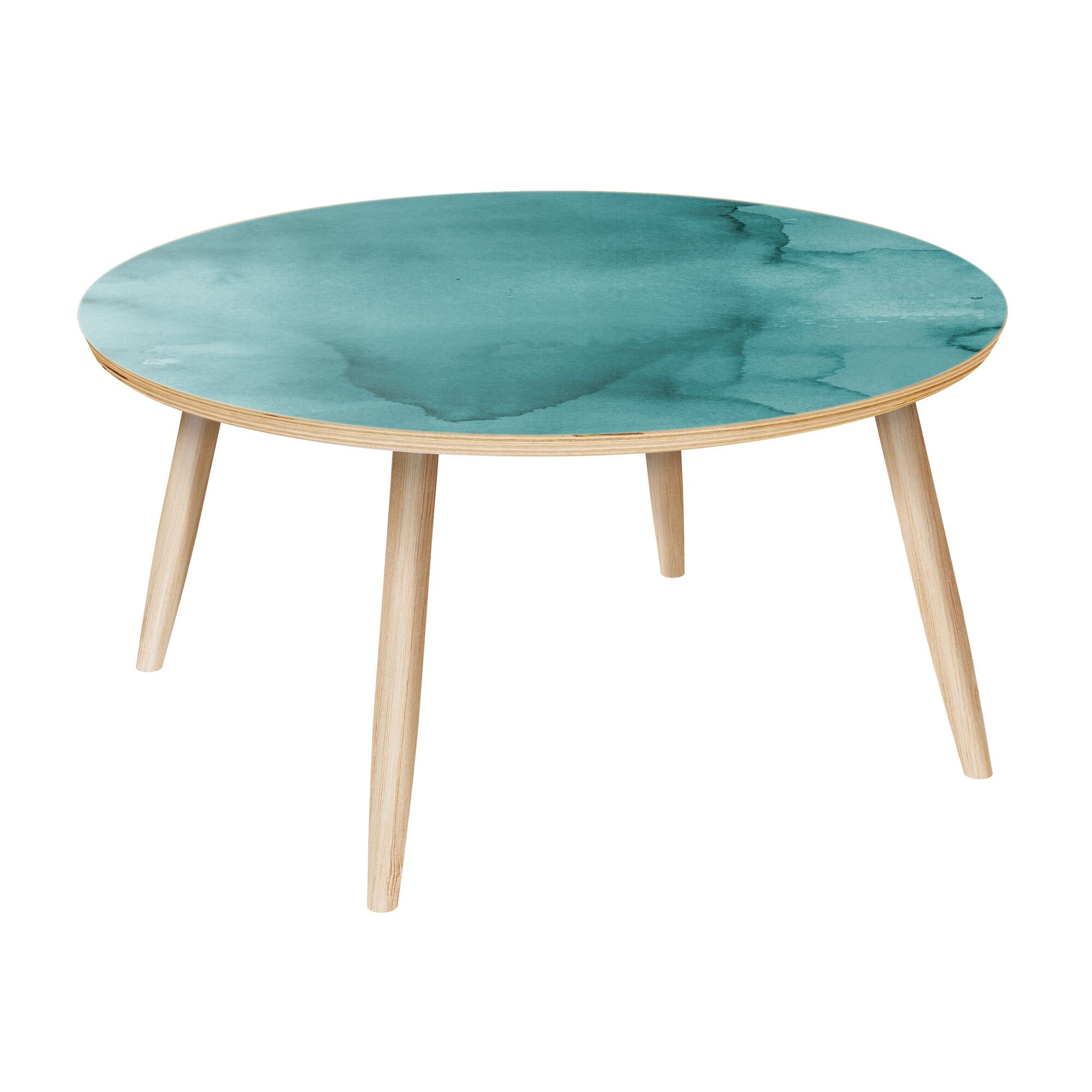 Madeira Coffee Table Table Base Color: Natural, Table Top Color: Turquoise