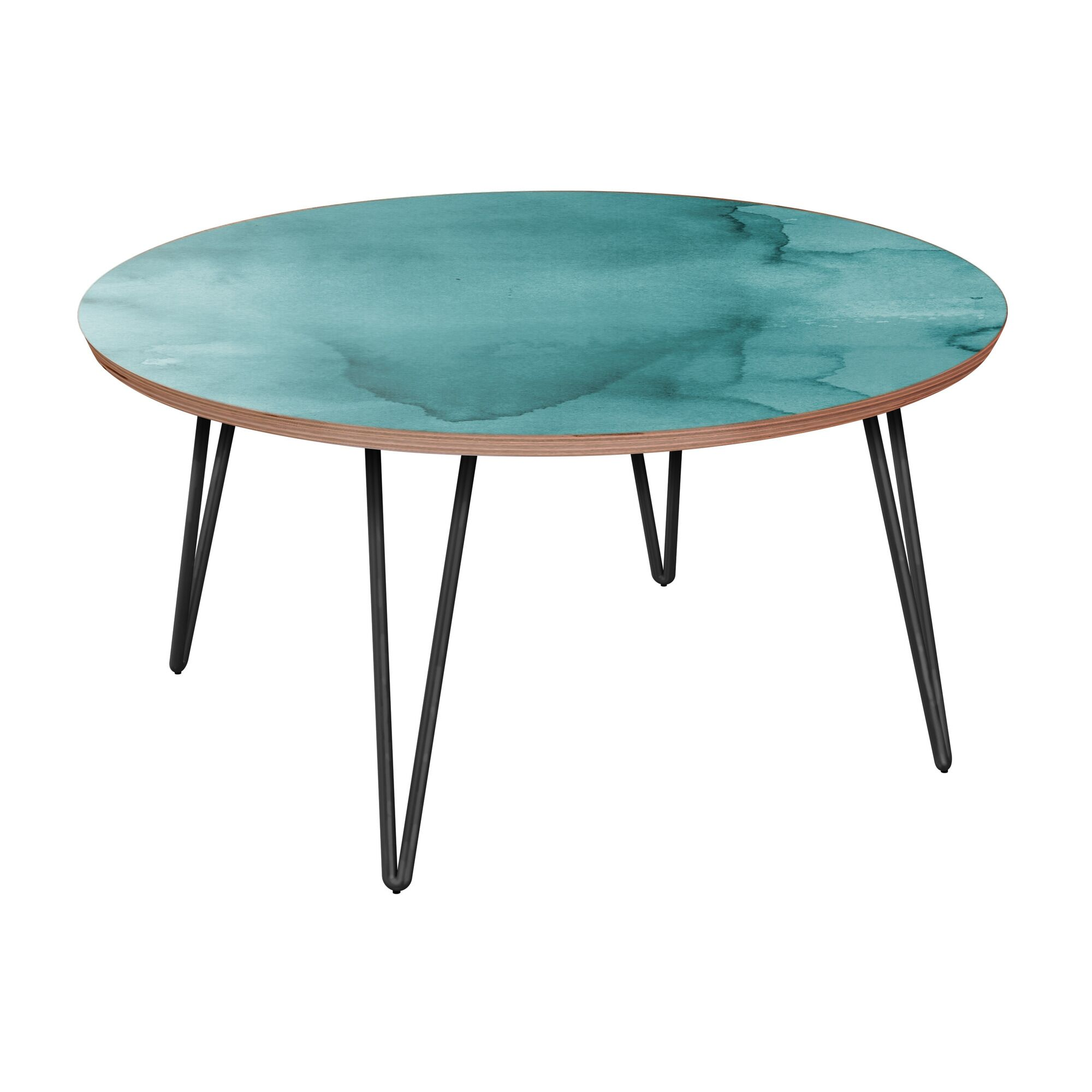 Jedidiah Coffee Table Table Base Color: Black, Table Top Boarder Color: Walnut, Table Top Color: Turquoise