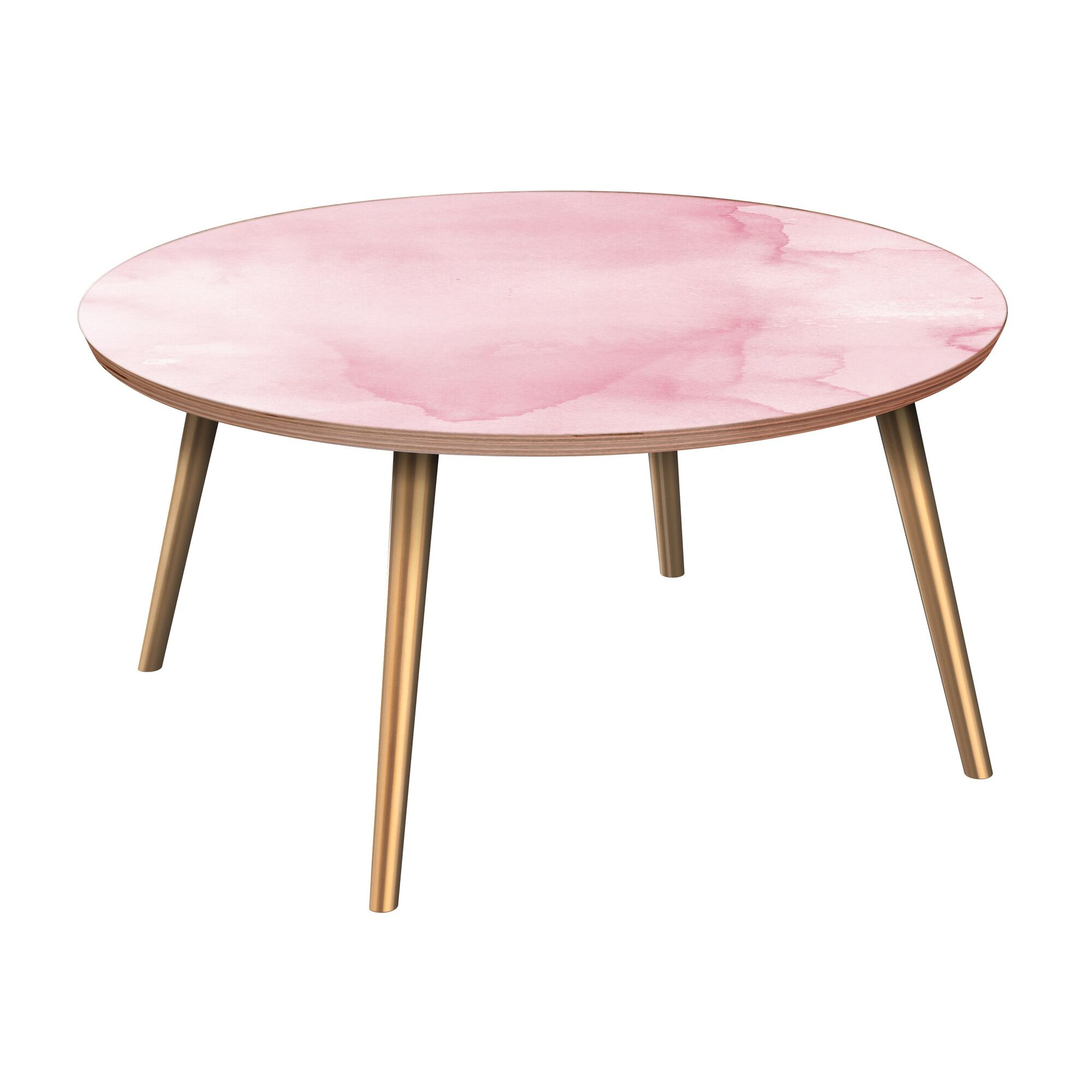 Ina Coffee Table Table Base Color: Brass, Table Top Boarder Color: Walnut, Table Top Color: Pink