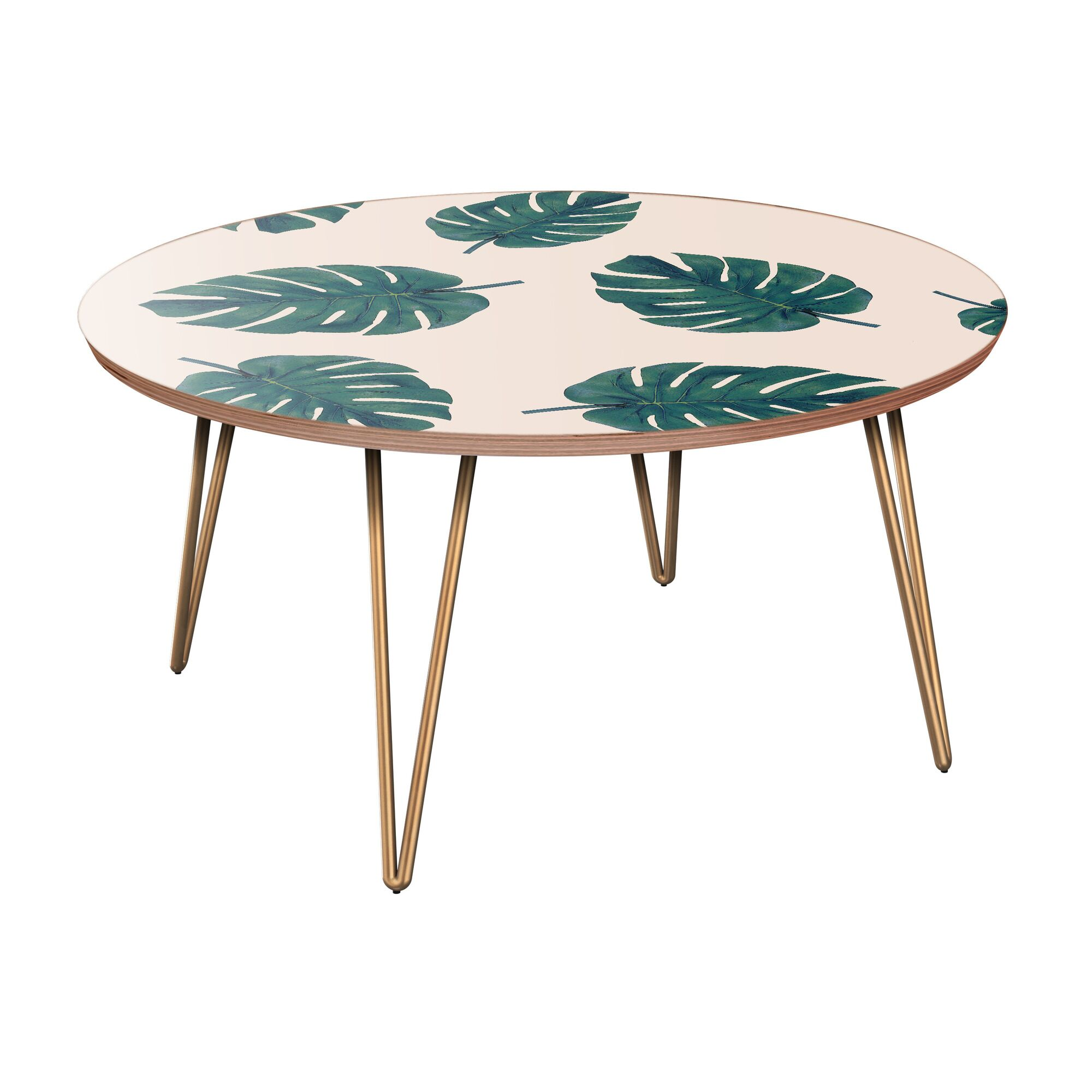Schiavo Coffee Table Table Base Color: Brass, Table Top Color: Walnut