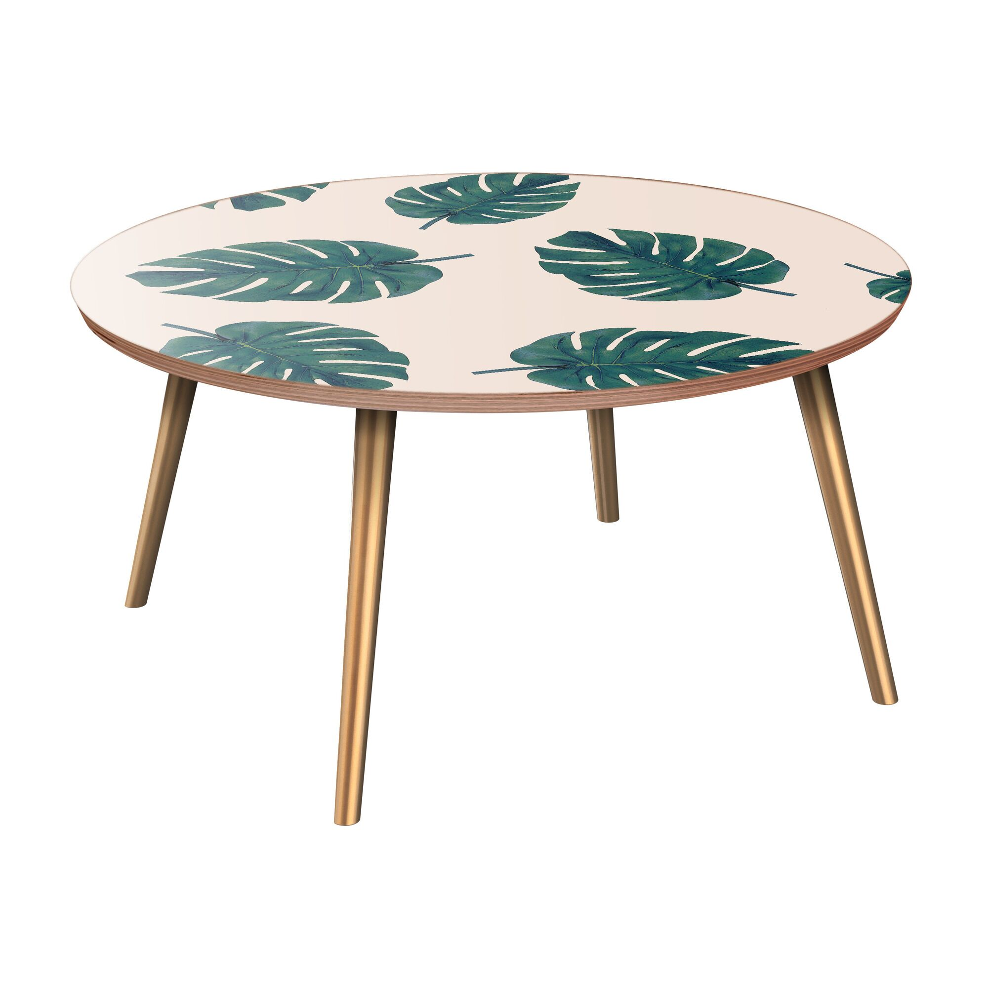 Schiavone Coffee Table Table Base Color: Brass, Table Top Color: Walnut