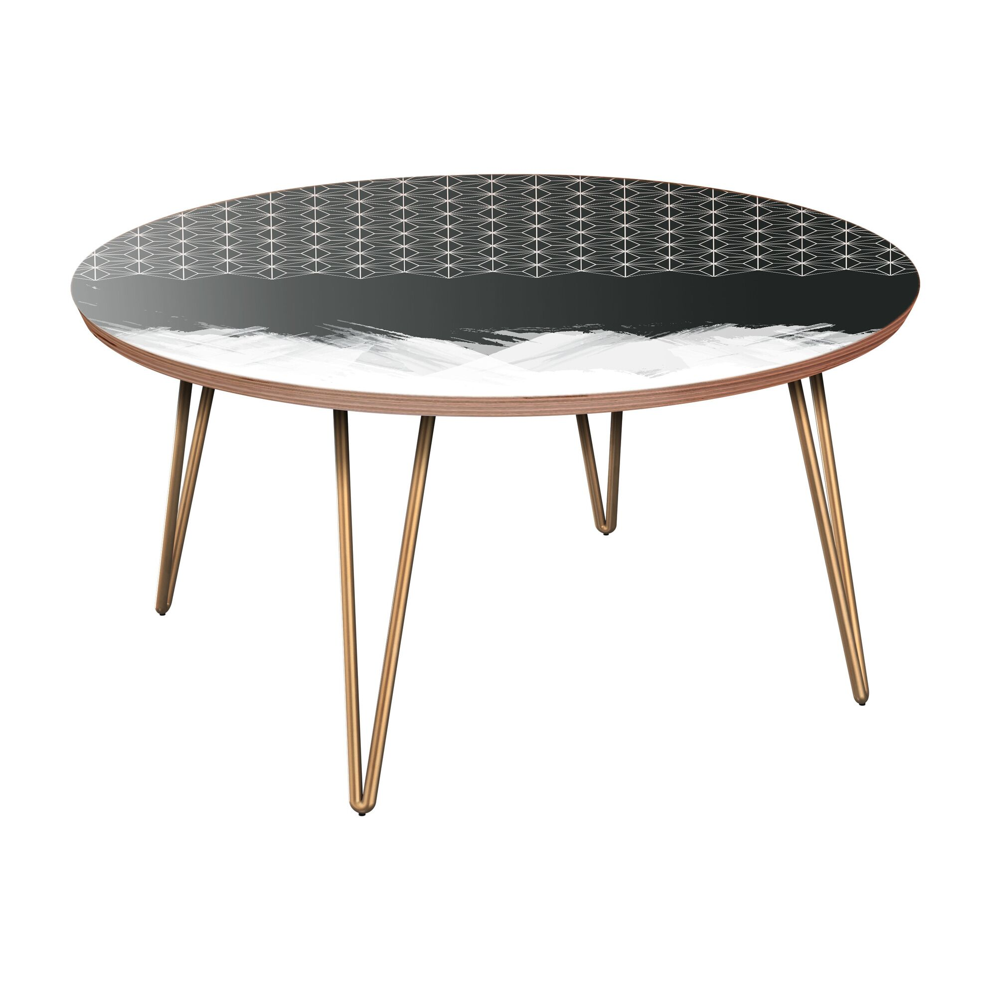 Esters Coffee Table Table Base Color: Brass, Table Top Color: Walnut
