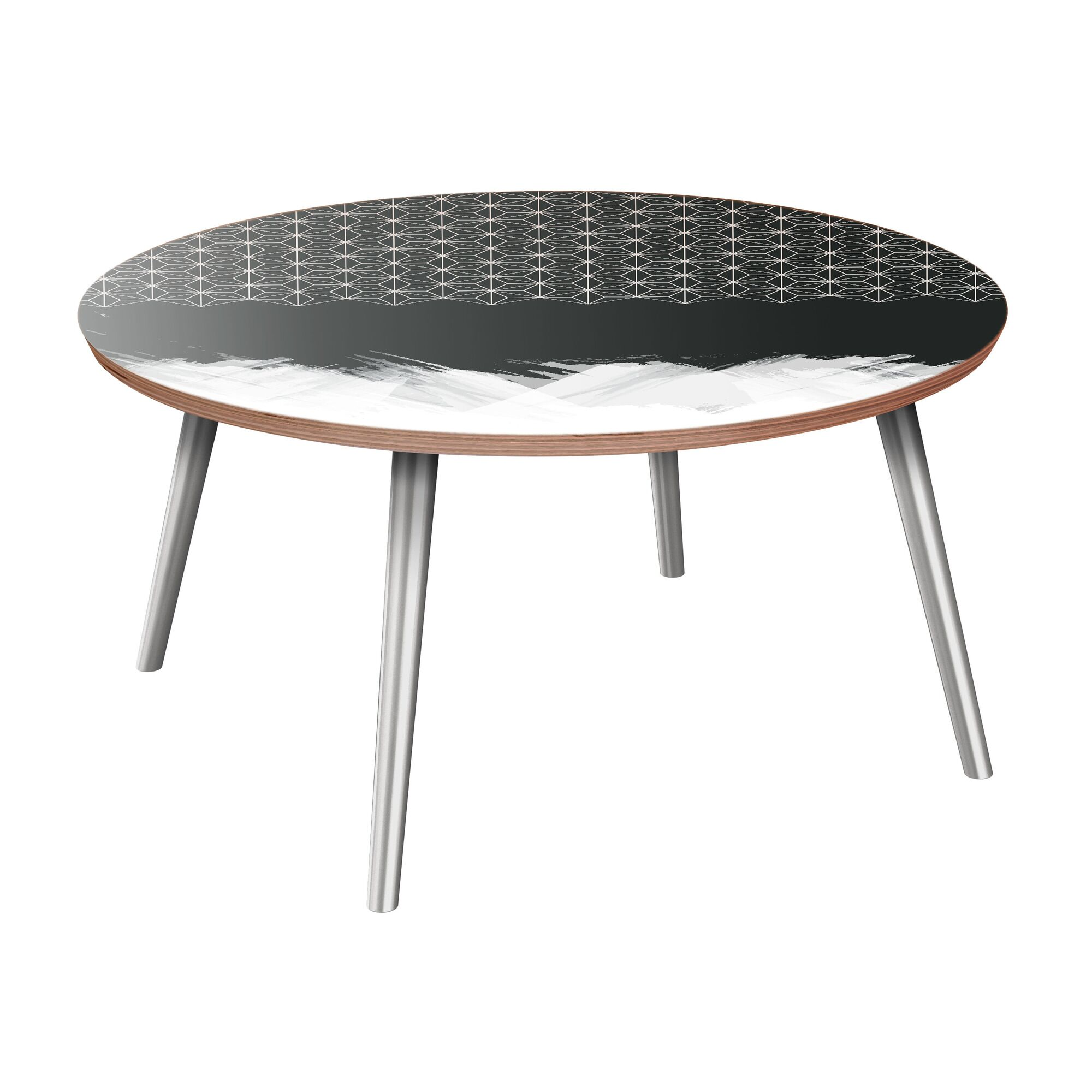 Evanoff Coffee Table Table Base Color: Chrome, Table Top Color: Walnut