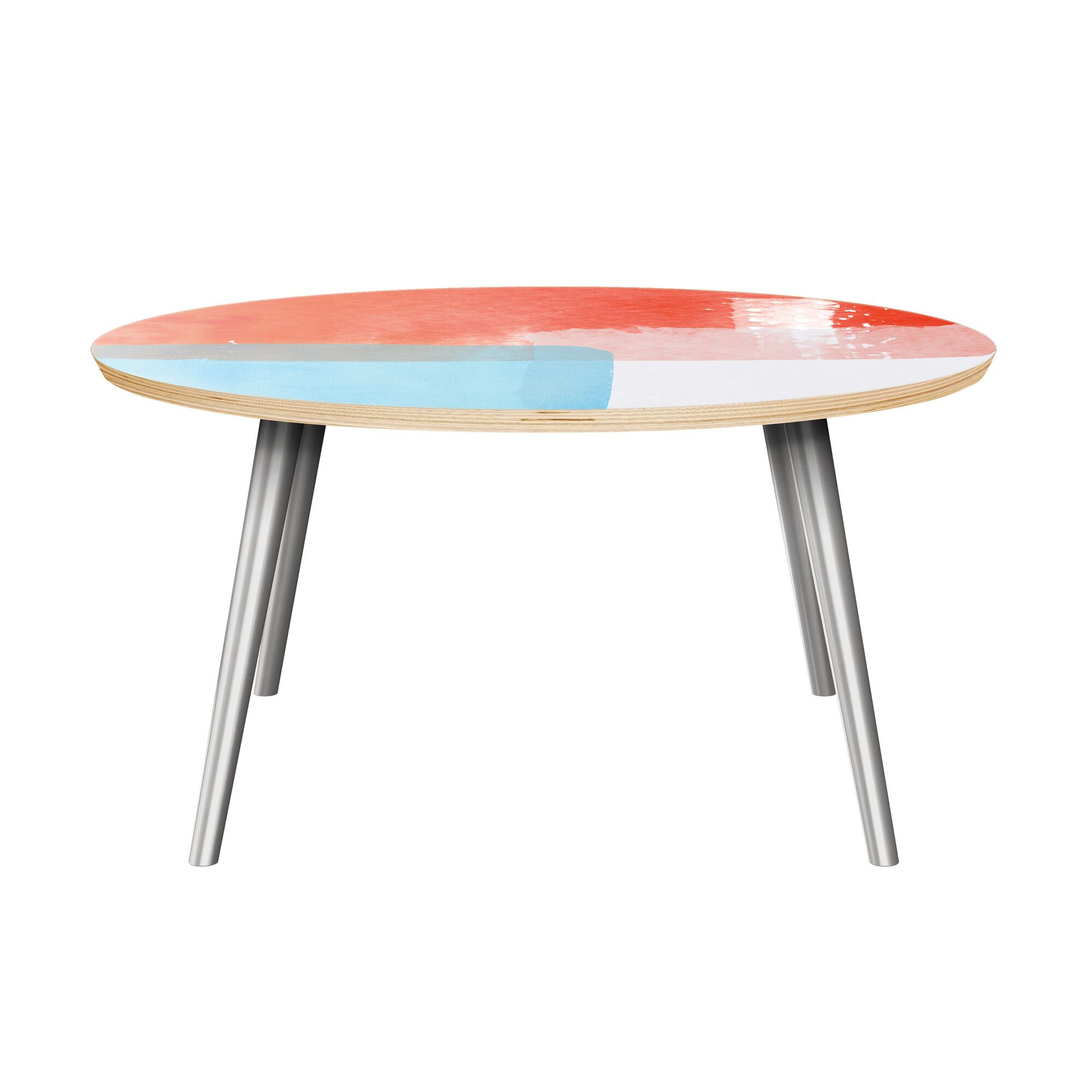 Estep Coffee Table Table Top Color: Natural, Table Base Color: Chrome