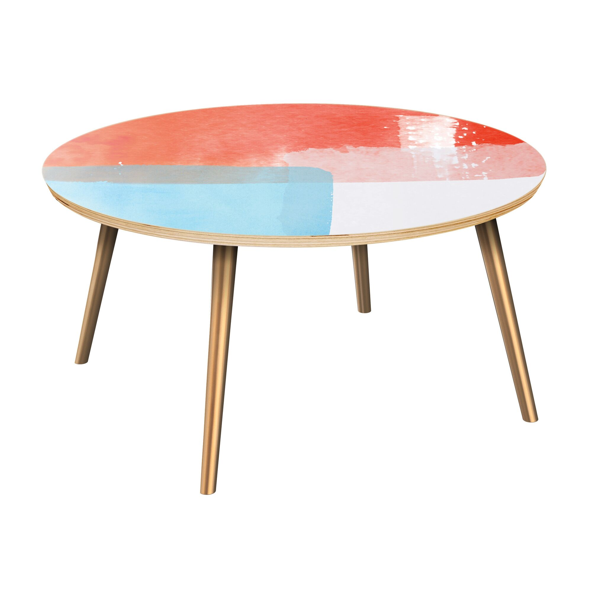 Estep Coffee Table Table Top Color: Natural, Table Base Color: Brass