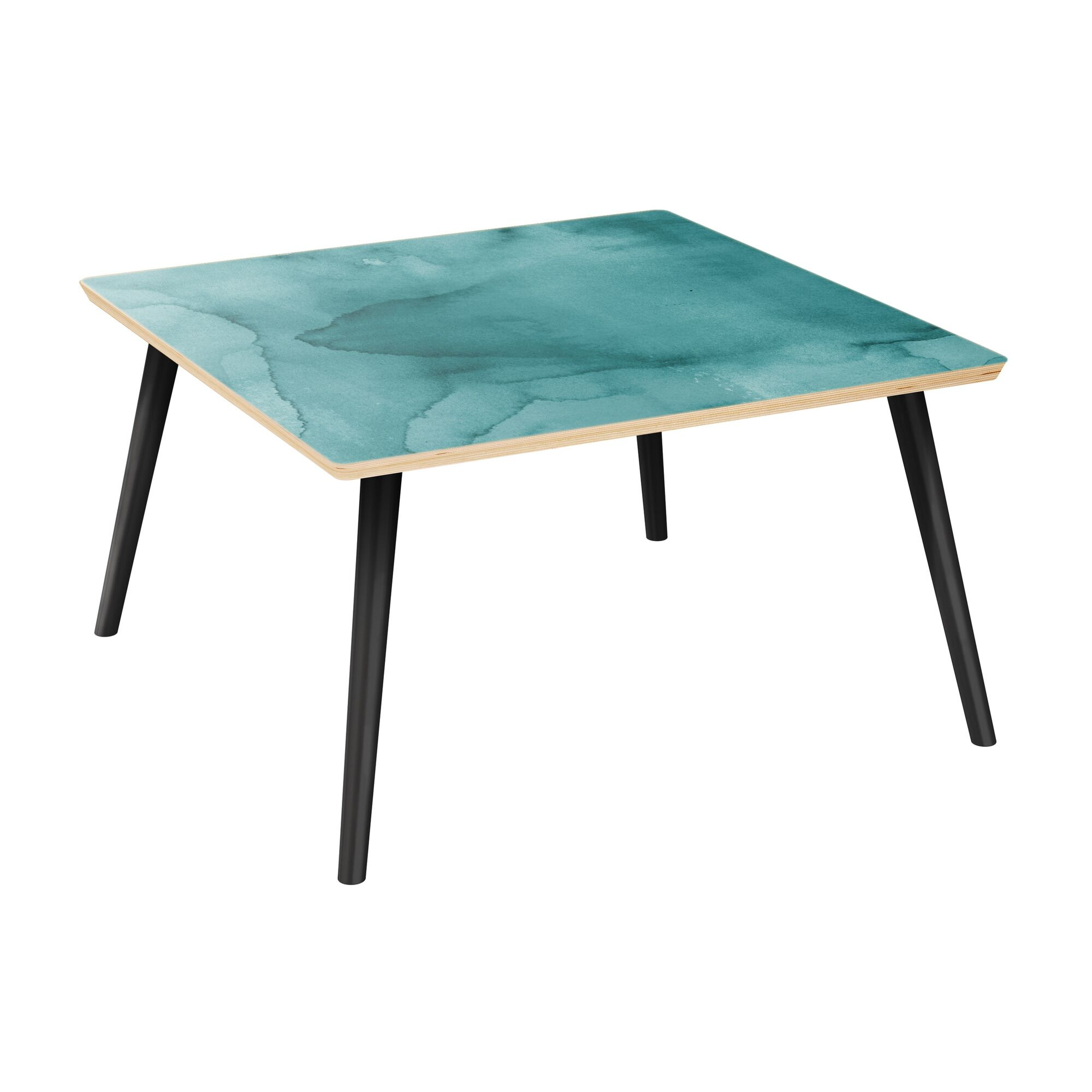 Jeffry Coffee Table Table Top Boarder Color: Natural, Table Base Color: Black, Table Top Color: Turquoise