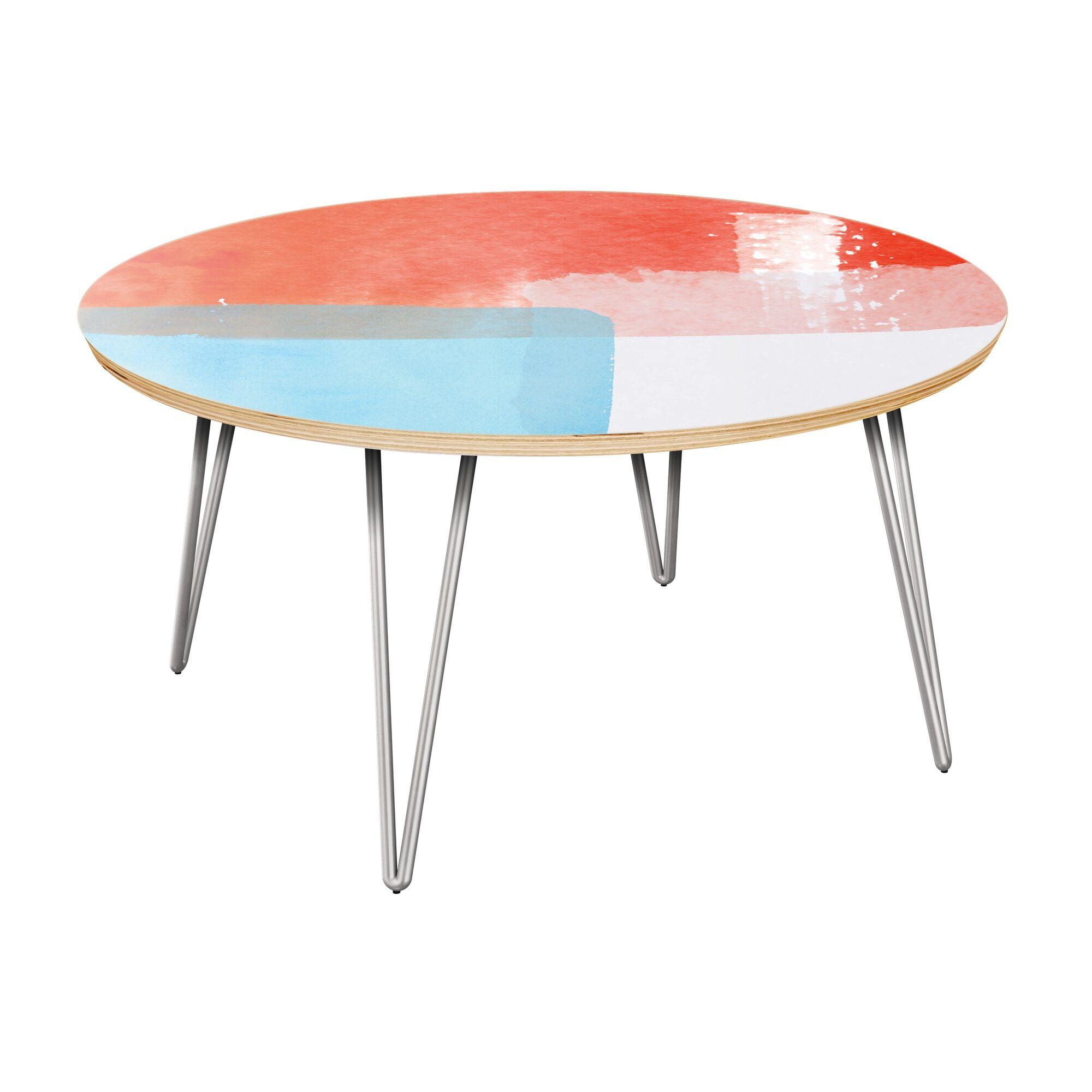 Estaugh Coffee Table Table Top Color: Natural, Table Base Color: Chrome