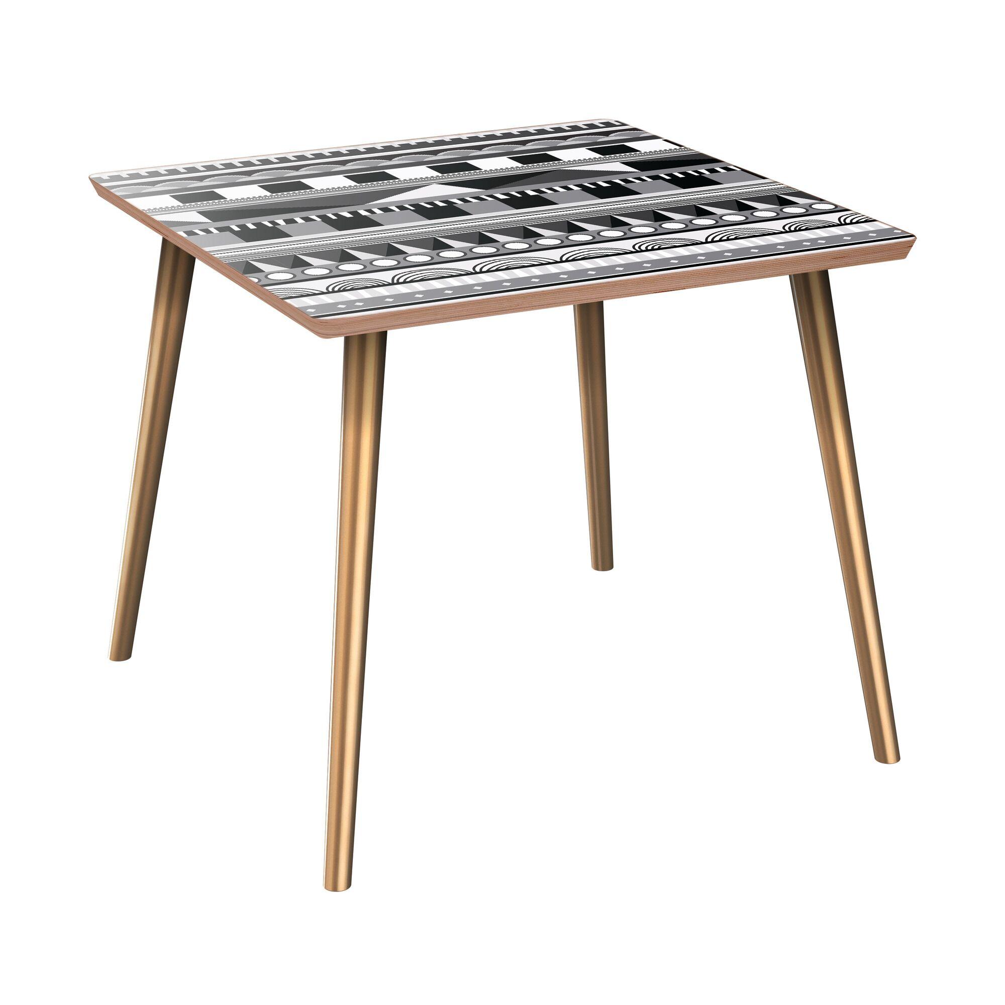 Kenbridge End Table Table Top Color: Walnut, Table Base Color: Brass