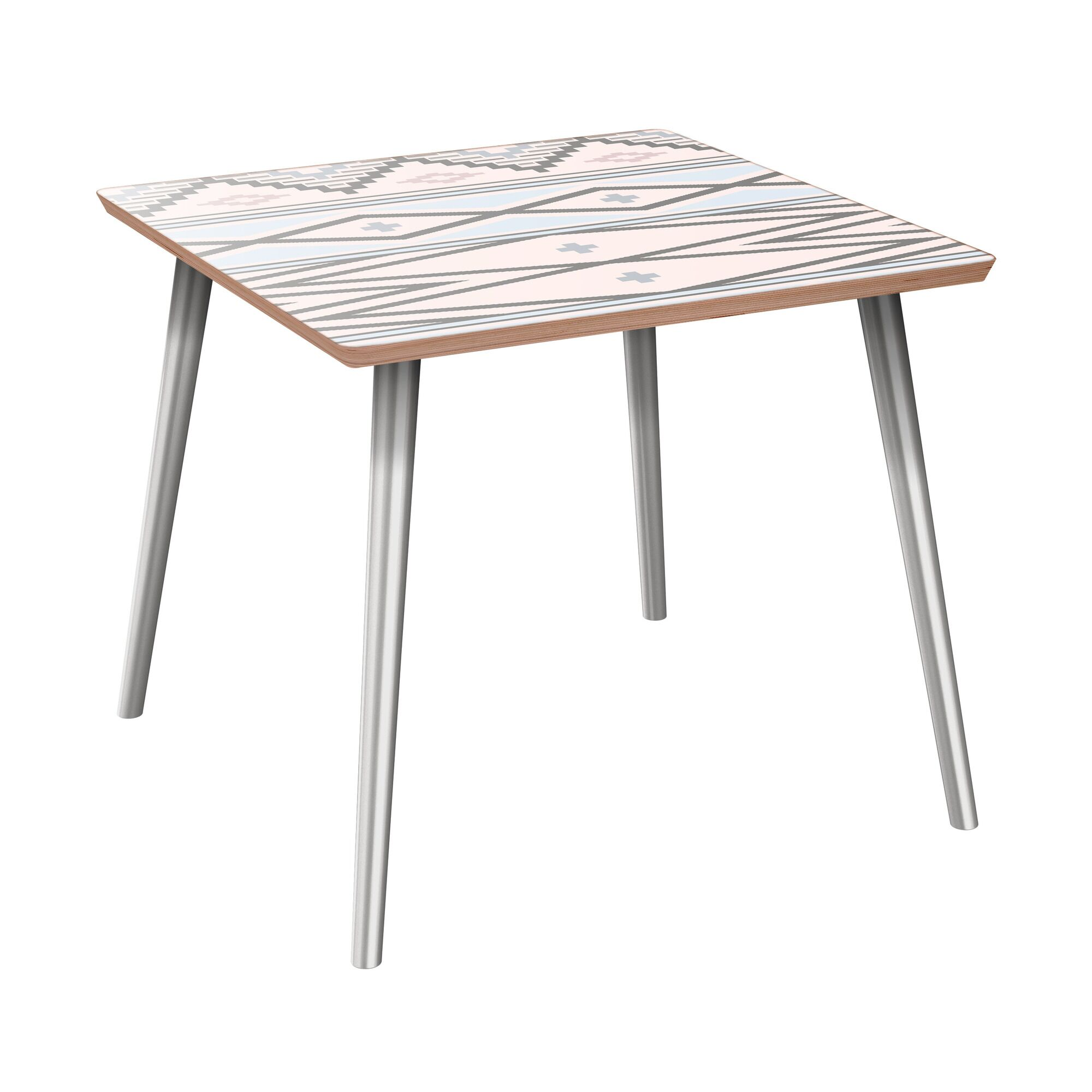 Houtz End Table Table Top Boarder Color: Walnut, Table Base Color: Chrome, Table Top Color: Pink/Blue