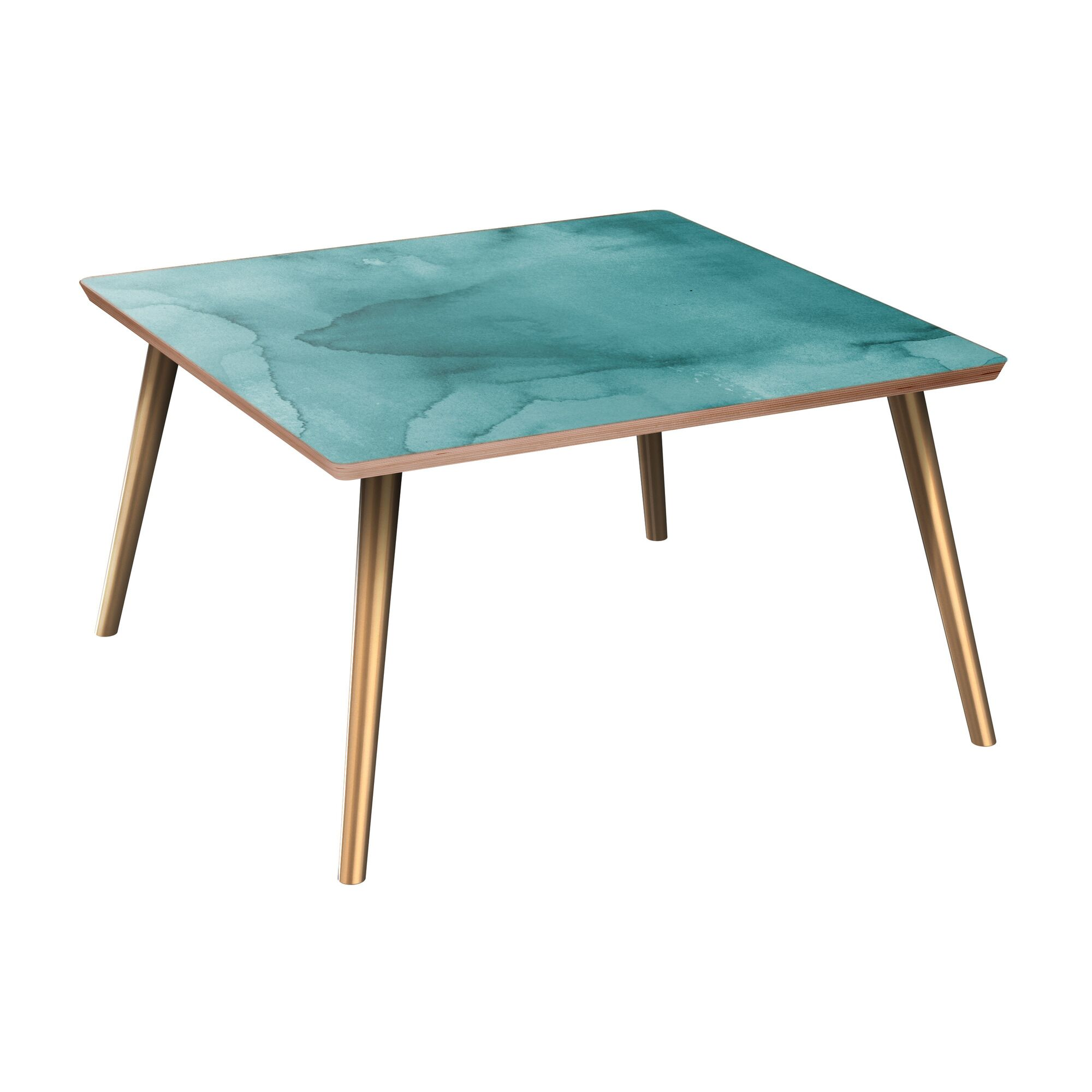Jeffry Coffee Table Table Base Color: Brass, Table Top Boarder Color: Walnut, Table Top Color: Pink