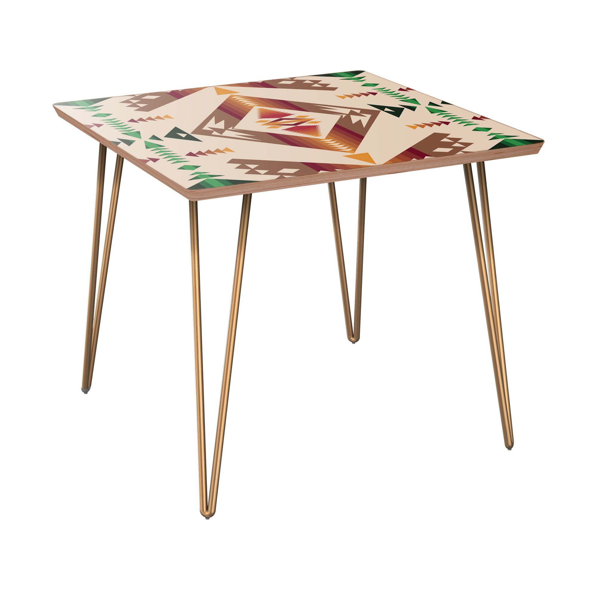 Arbor Lake End Table Table Base Color: Brass, Table Top Color: Walnut