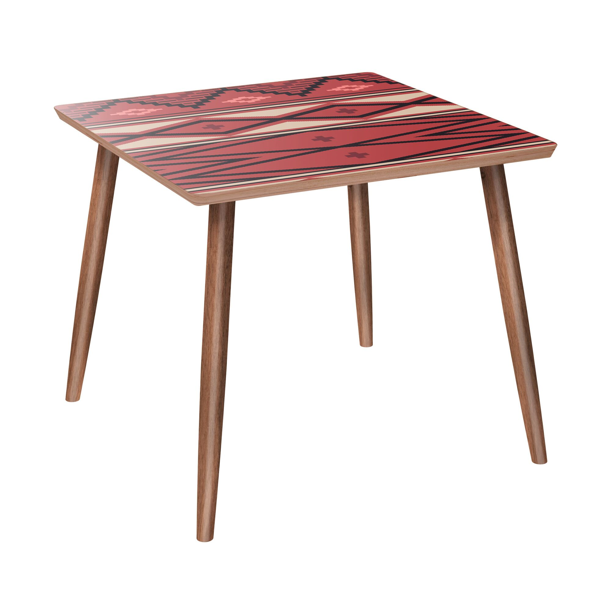 Upper Strode End Table Table Base Color: Walnut, Table Top Color: Red