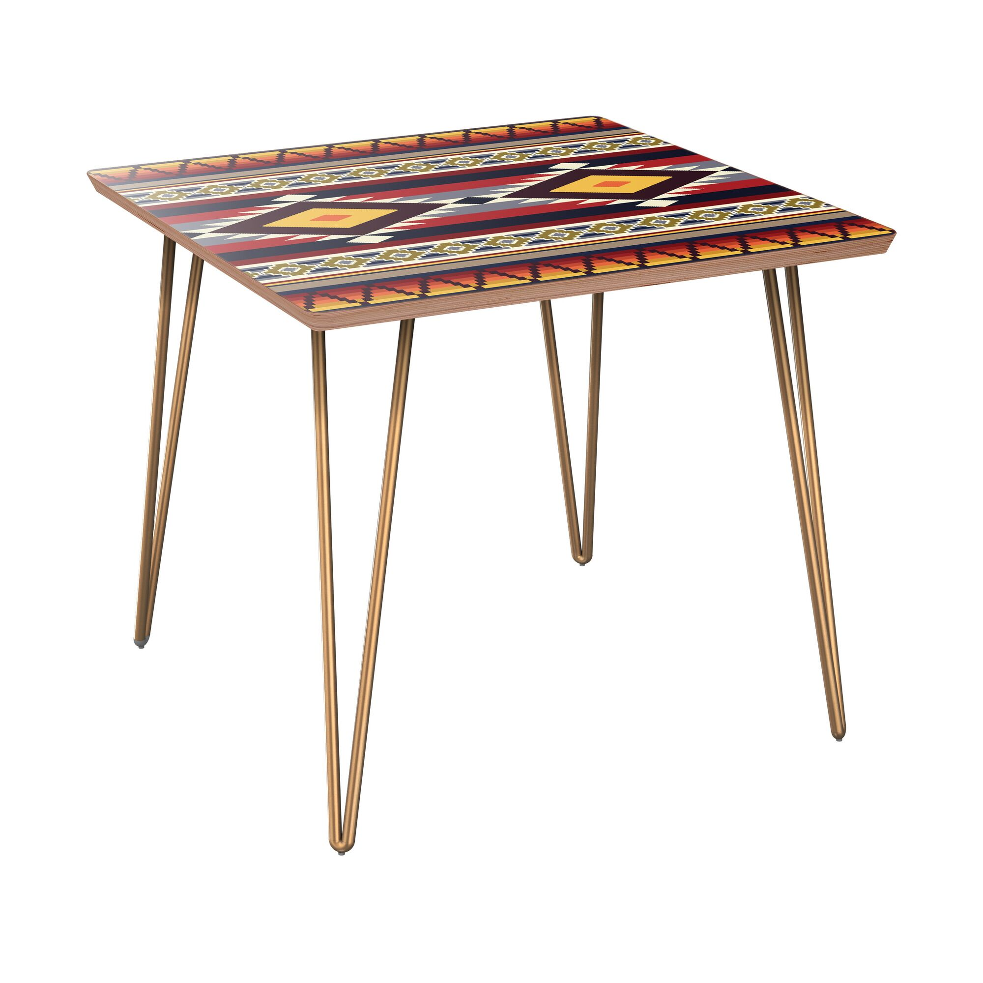 Ischua End Table Table Base Color: Brass, Table Top Color: Walnut