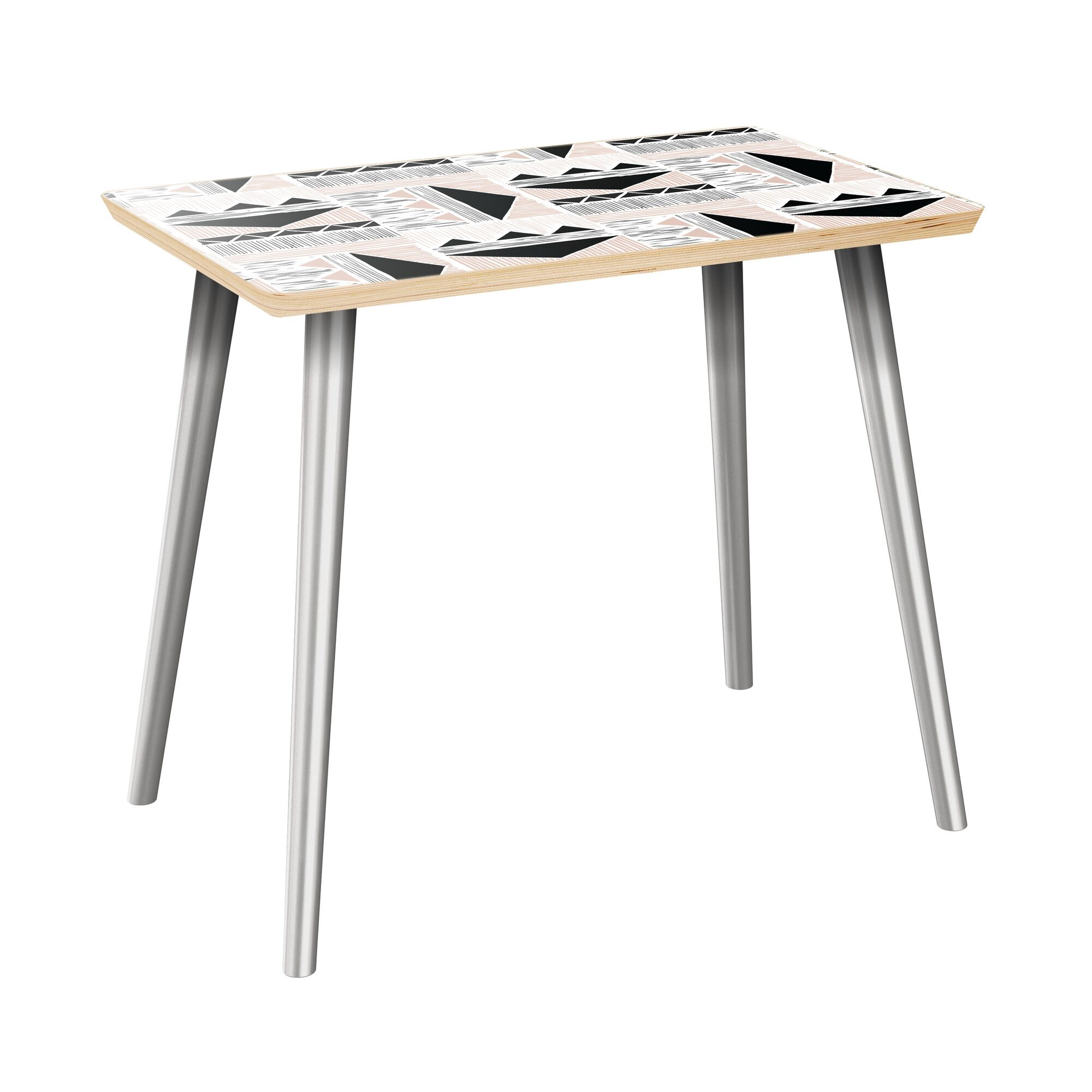 Hornick End Table Table Top Color: Natural, Table Base Color: Chrome