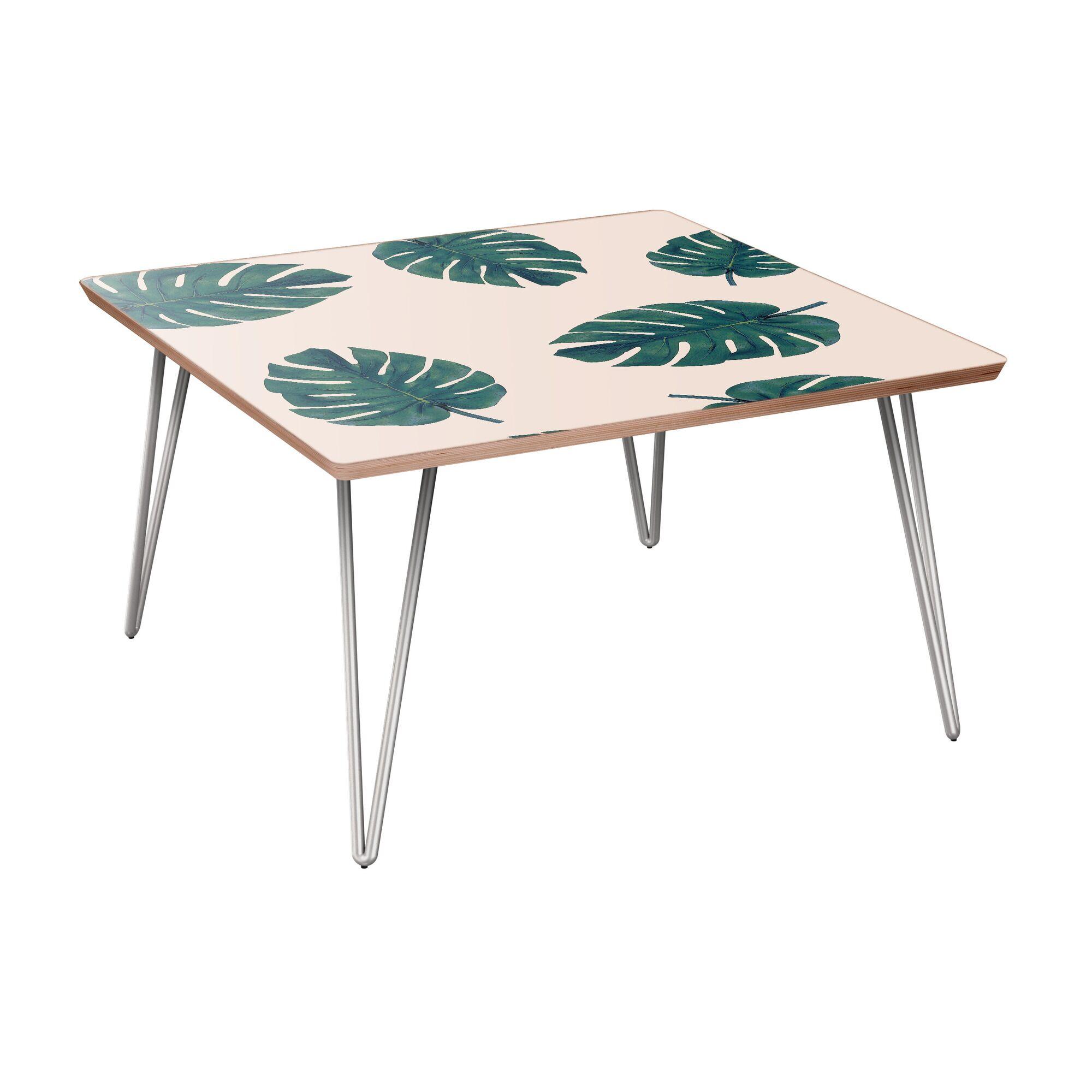 Schiffman Coffee Table Table Base Color: Chrome, Table Top Color: Walnut