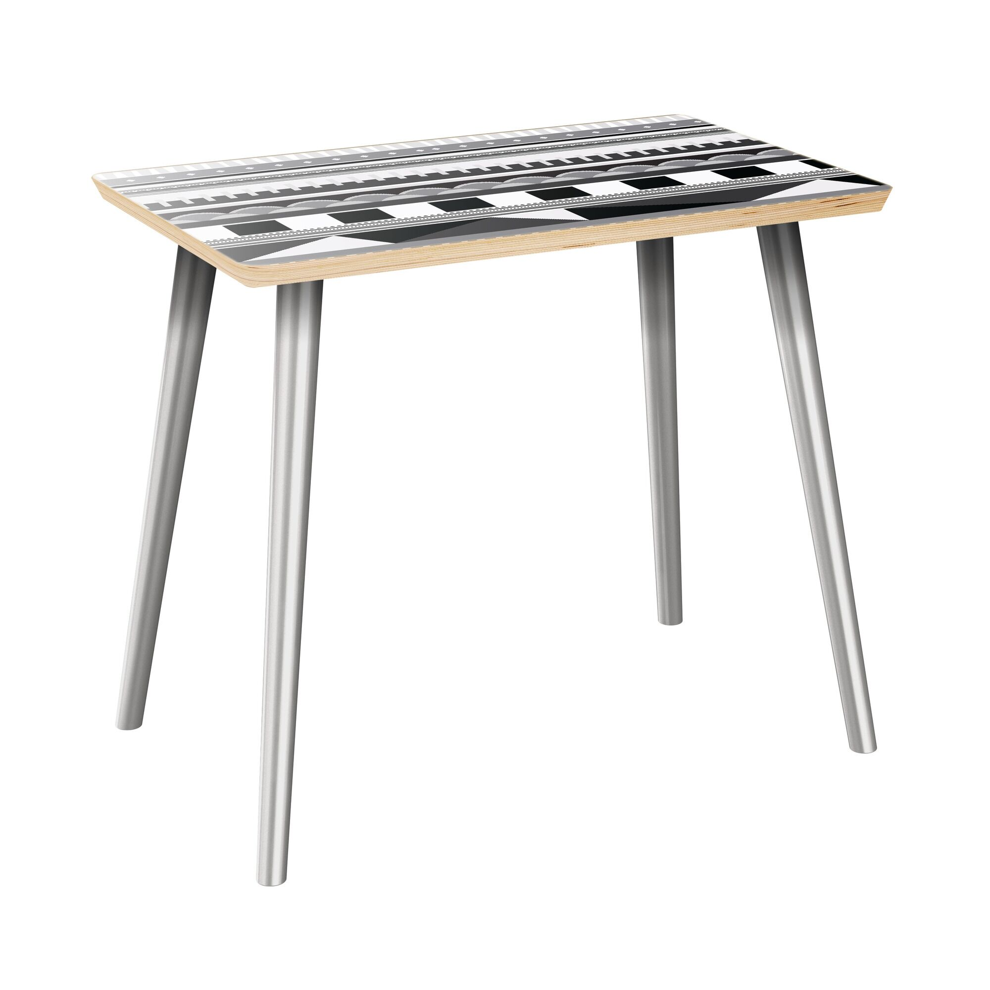 Hornback End Table Table Top Color: Natural, Table Base Color: Chrome