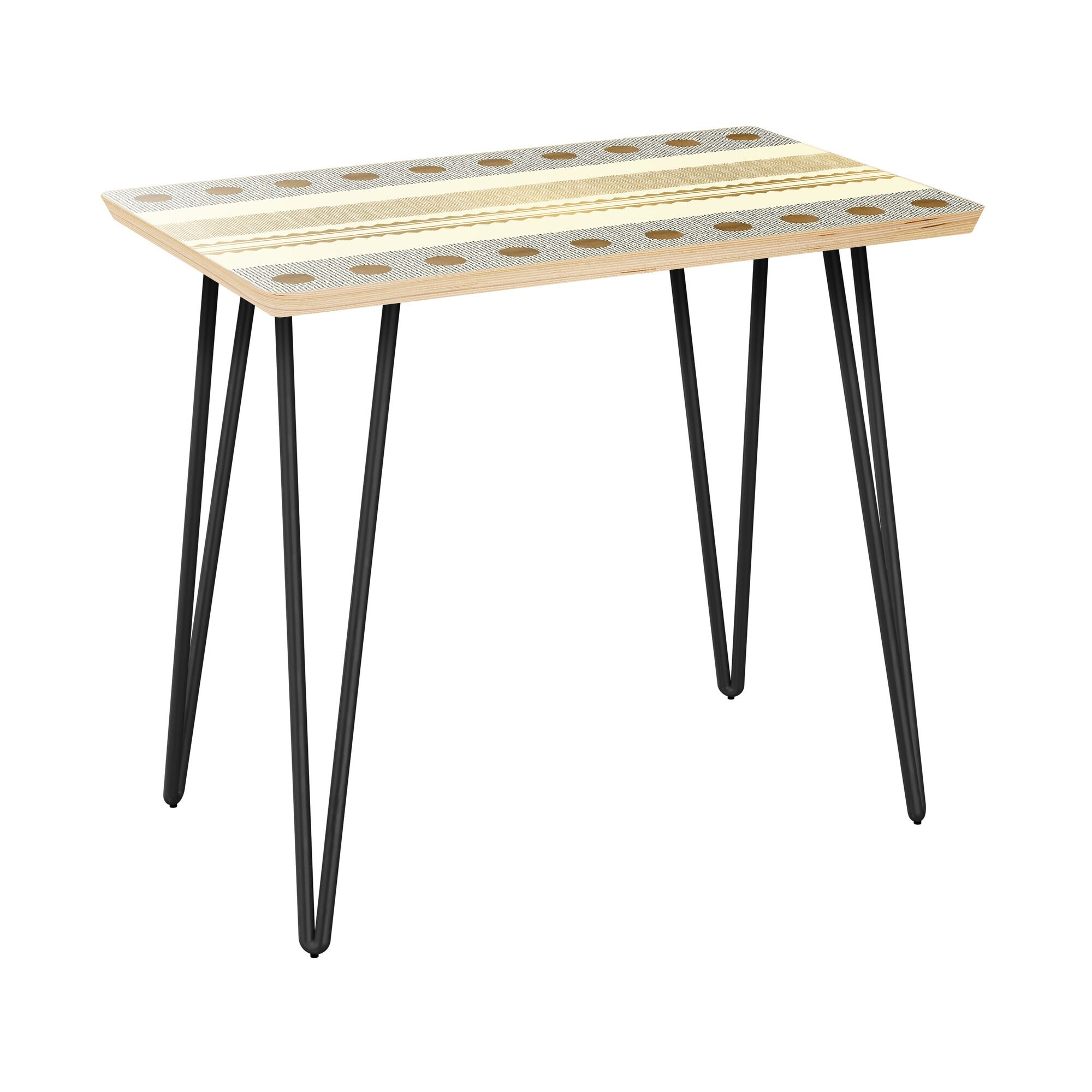Hollifield End Table Table Top Color: Natural, Table Base Color: Black