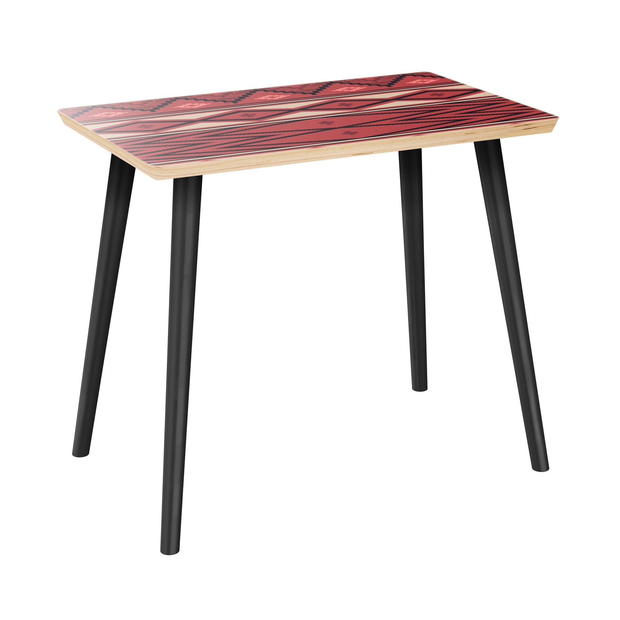 Hoyer End Table Table Top Boarder Color: Natural, Table Base Color: Black, Table Top Color: Pink/Blue