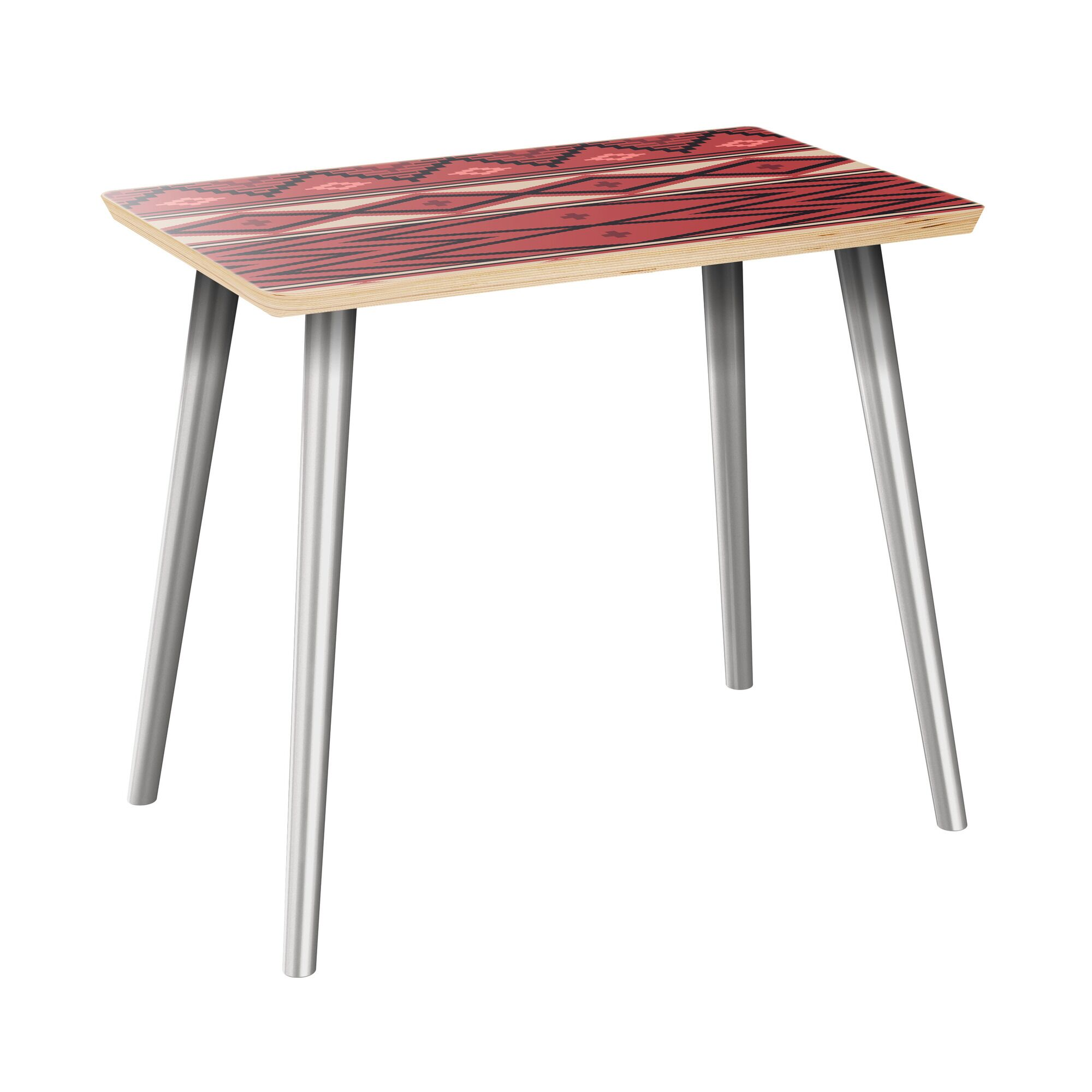 Hoyer End Table Table Top Boarder Color: Natural, Table Base Color: Chrome, Table Top Color: Red