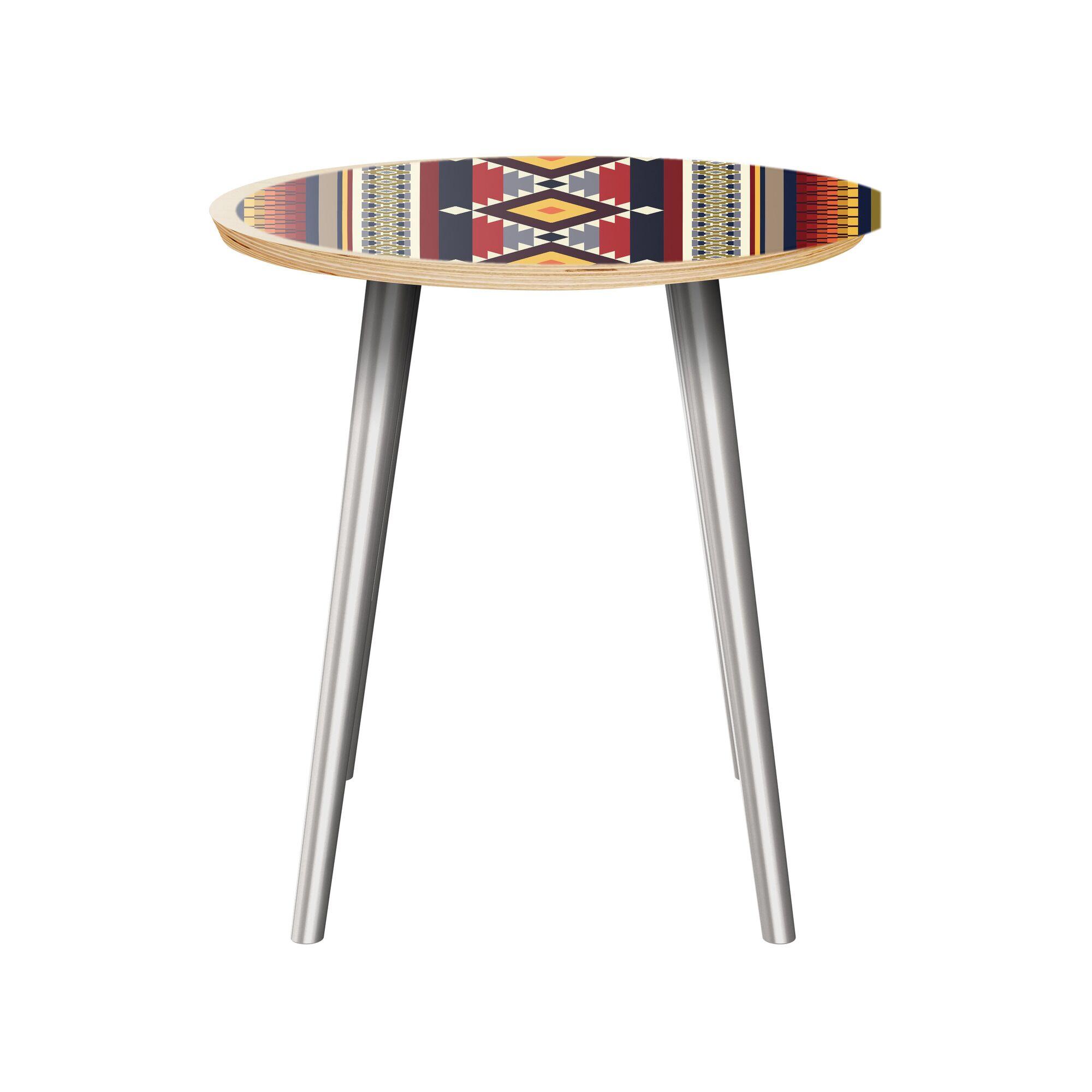 Kristan End Table Table Top Color: Natural, Table Base Color: Chrome