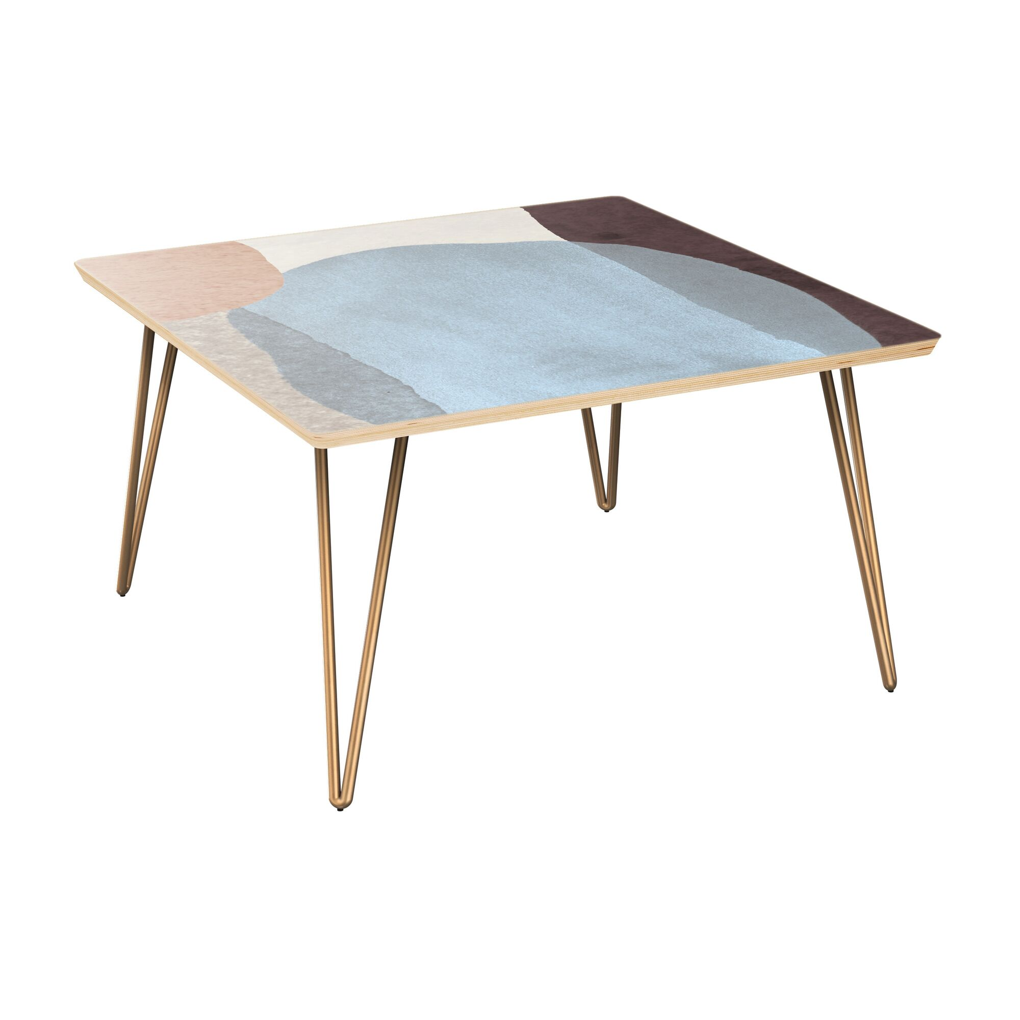 Evenson Coffee Table Table Top Color: Natural, Table Base Color: Brass