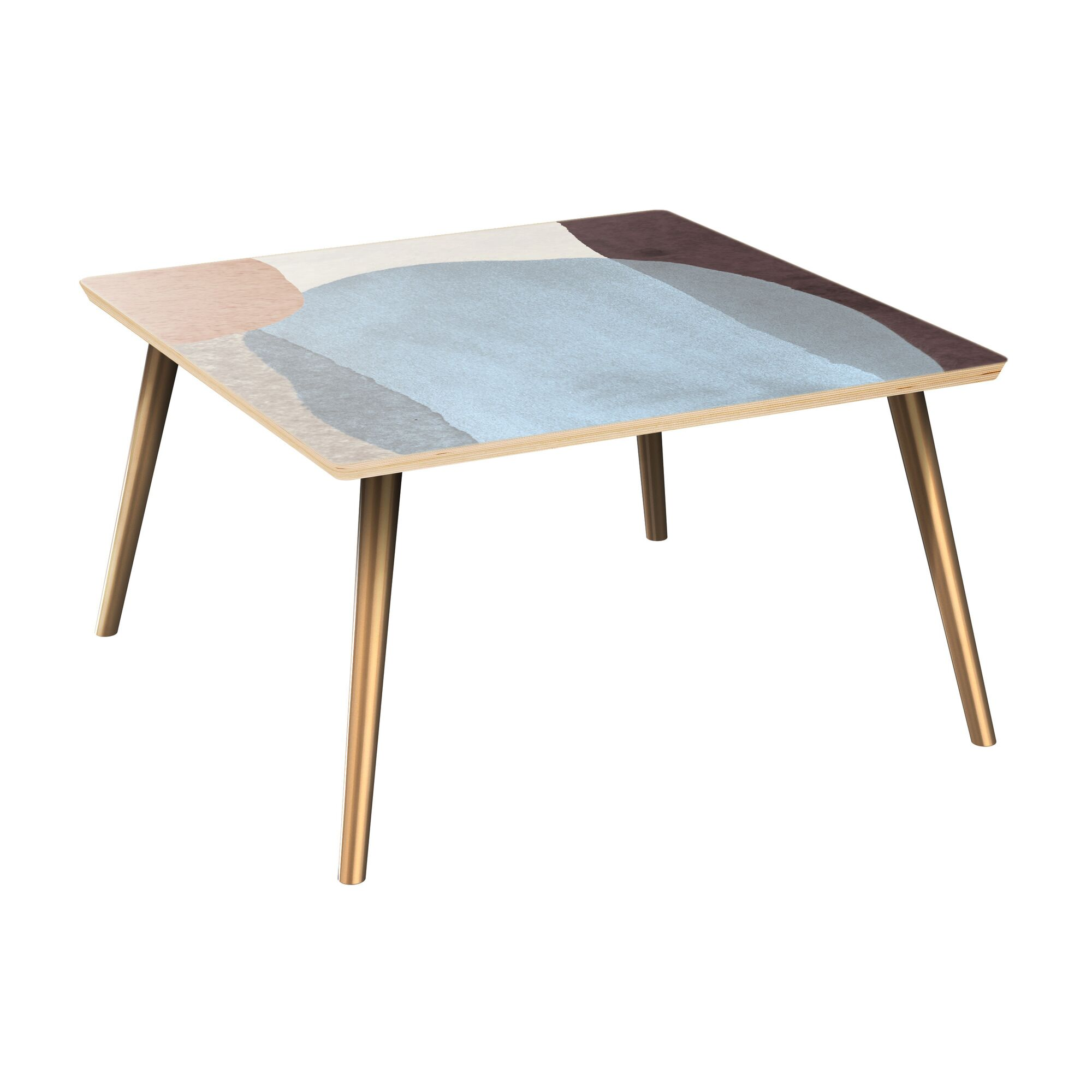 Everette Coffee Table Table Top Color: Natural, Table Base Color: Brass